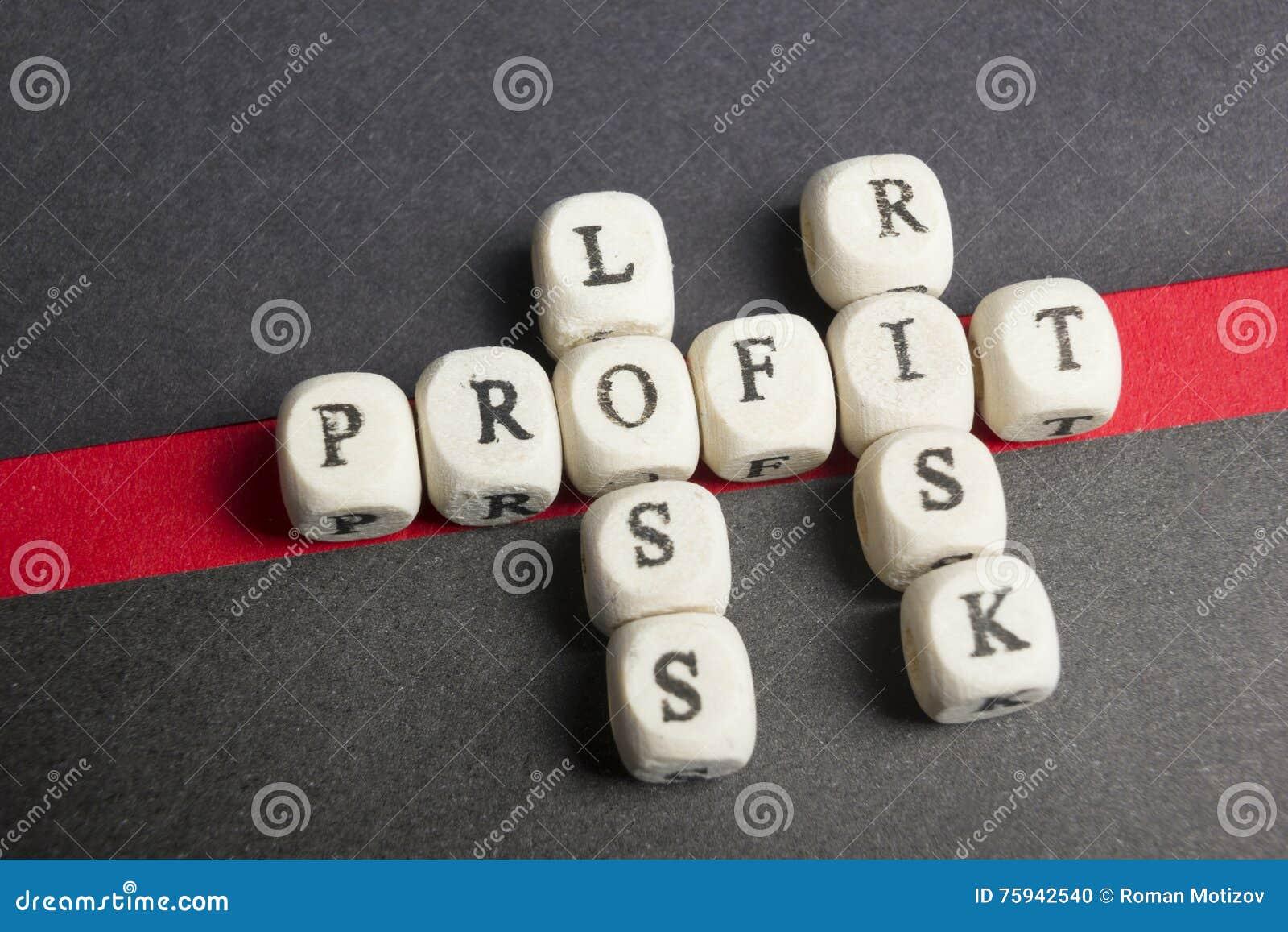 Blocos das palavras cruzadas do lucro, da perda e do risco na tabela Vista superior