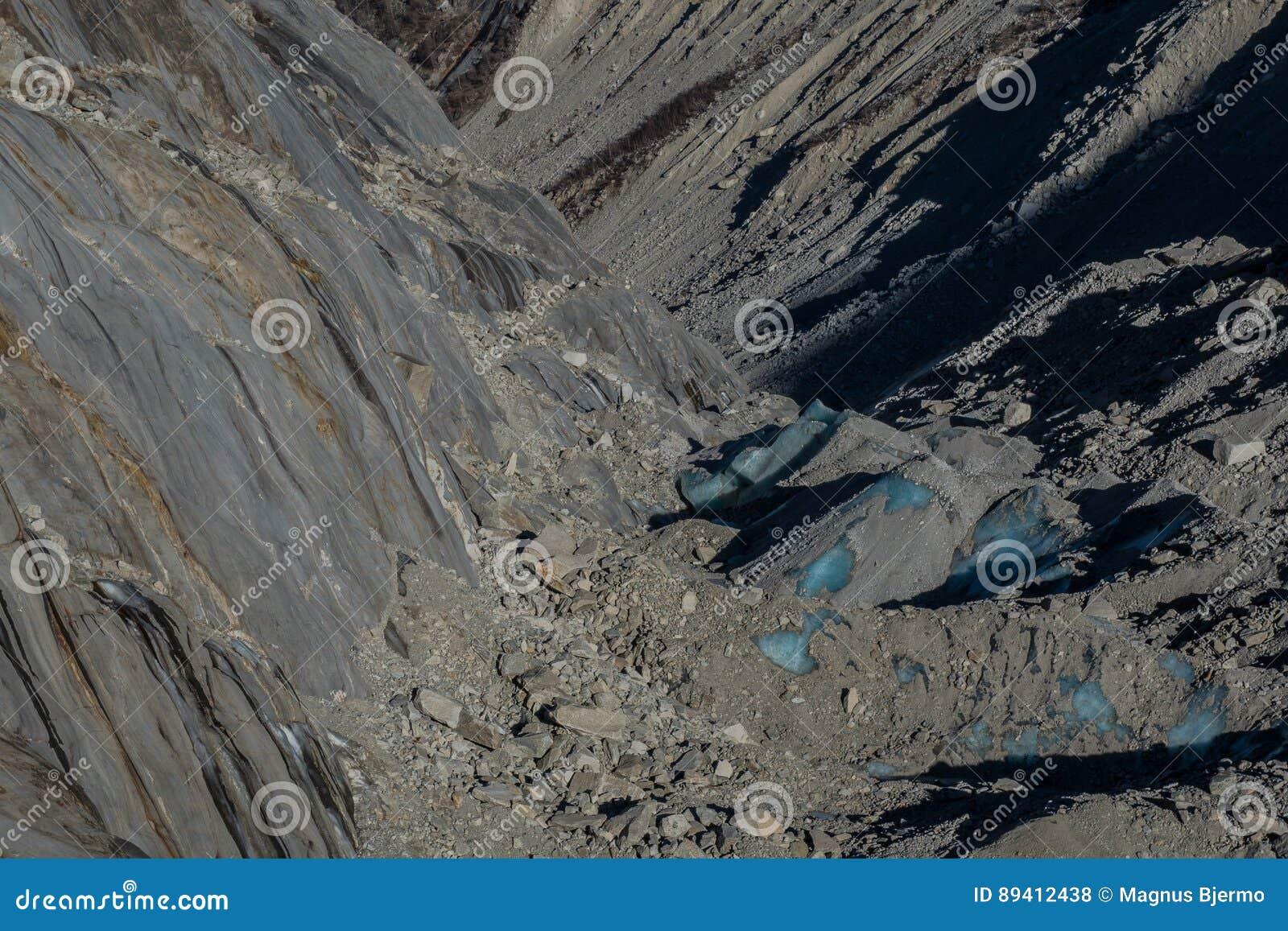 Blocos de gelo da geleira cobertos por rochas e por terra