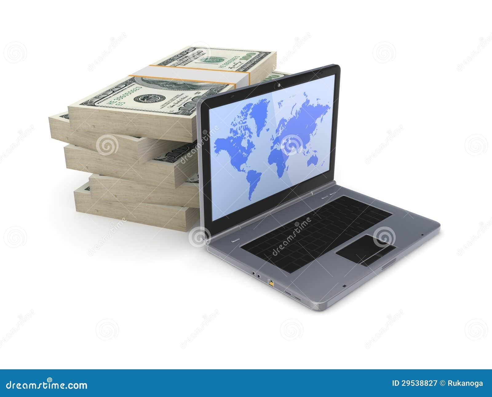 Blocos modernos do caderno e do dólar.