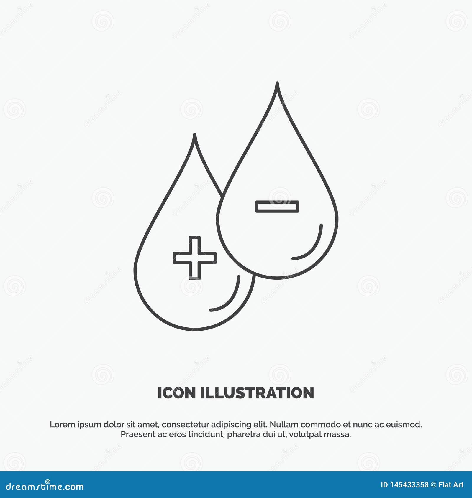 Bloed, daling, vloeistof, plus, Minus Pictogram Lijn vector grijs symbool voor UI en UX, website of mobiele toepassing