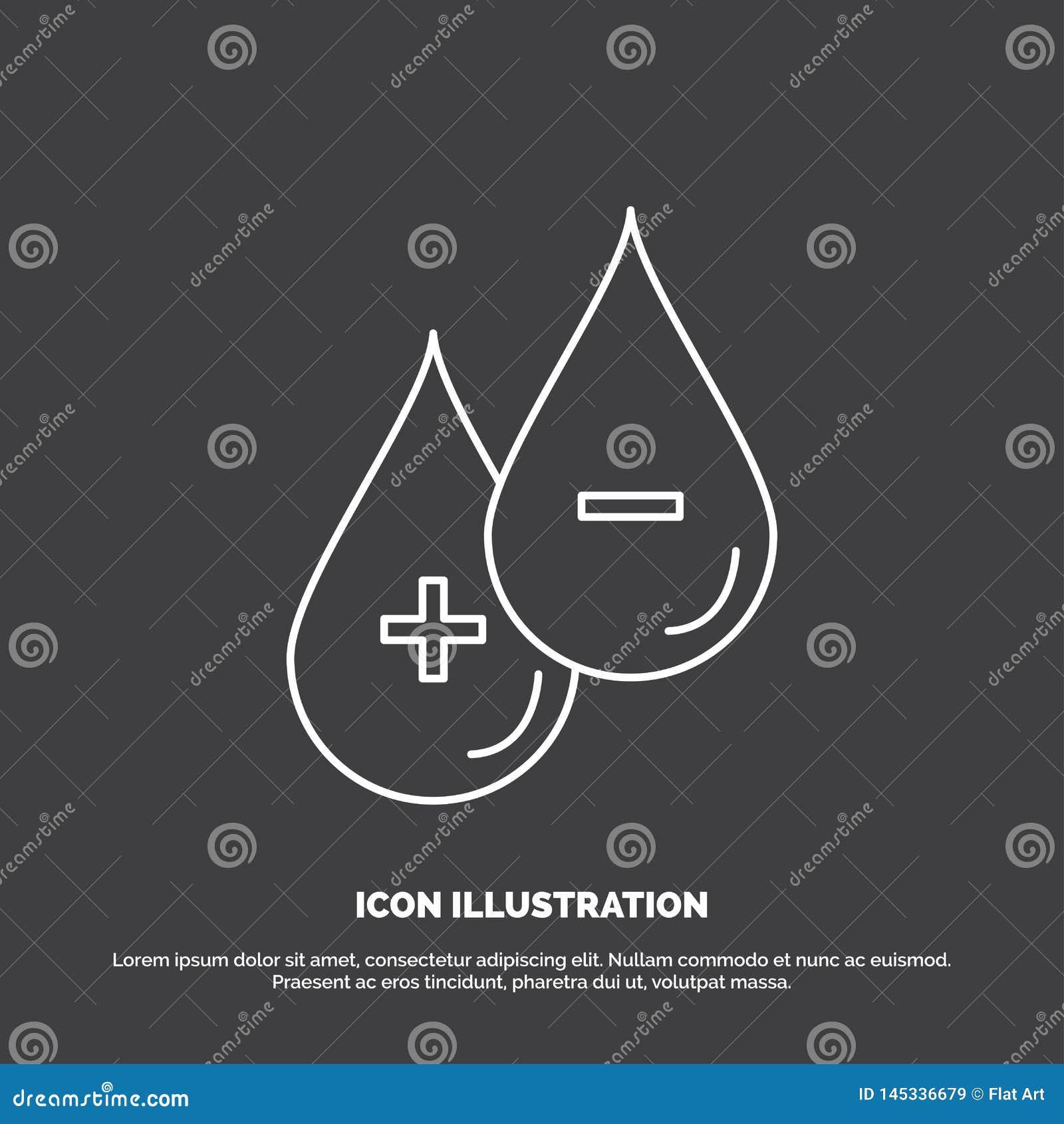 Bloed, daling, vloeistof, plus, Minus Pictogram Lijn vectorsymbool voor UI en UX, website of mobiele toepassing