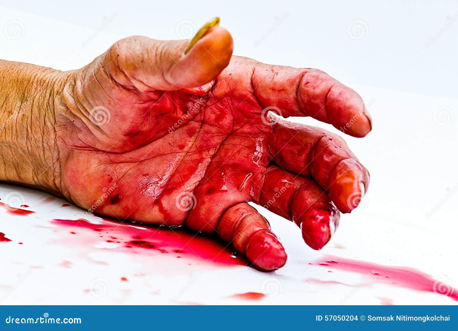 Bloedige hand op de lijst een geweld of vreesverschrikkingsconcept