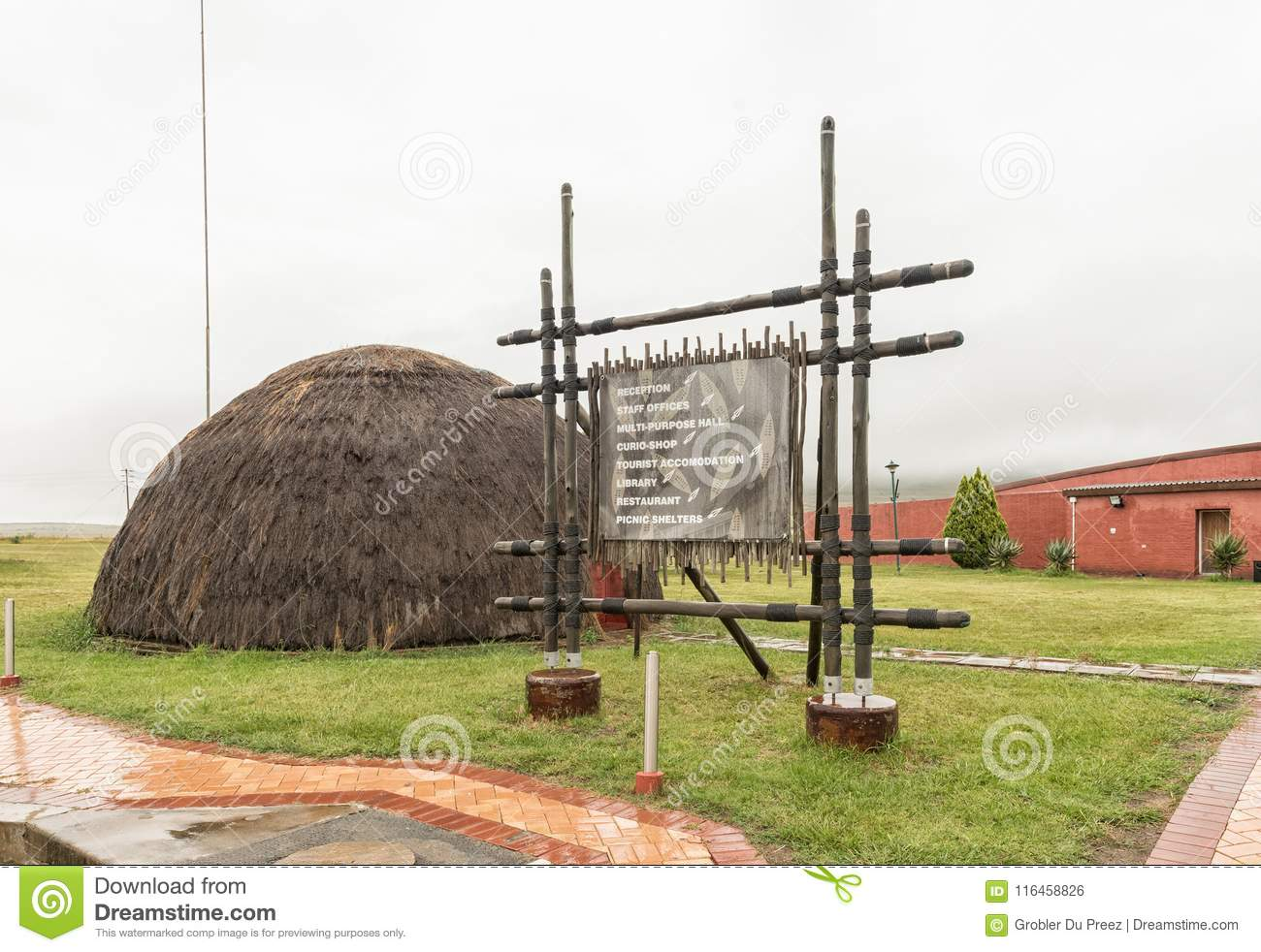 Information Board And Zulu Hut At The Ncome Zulu Museum Editorial Photo -  Image of historic, overcast: 116458826