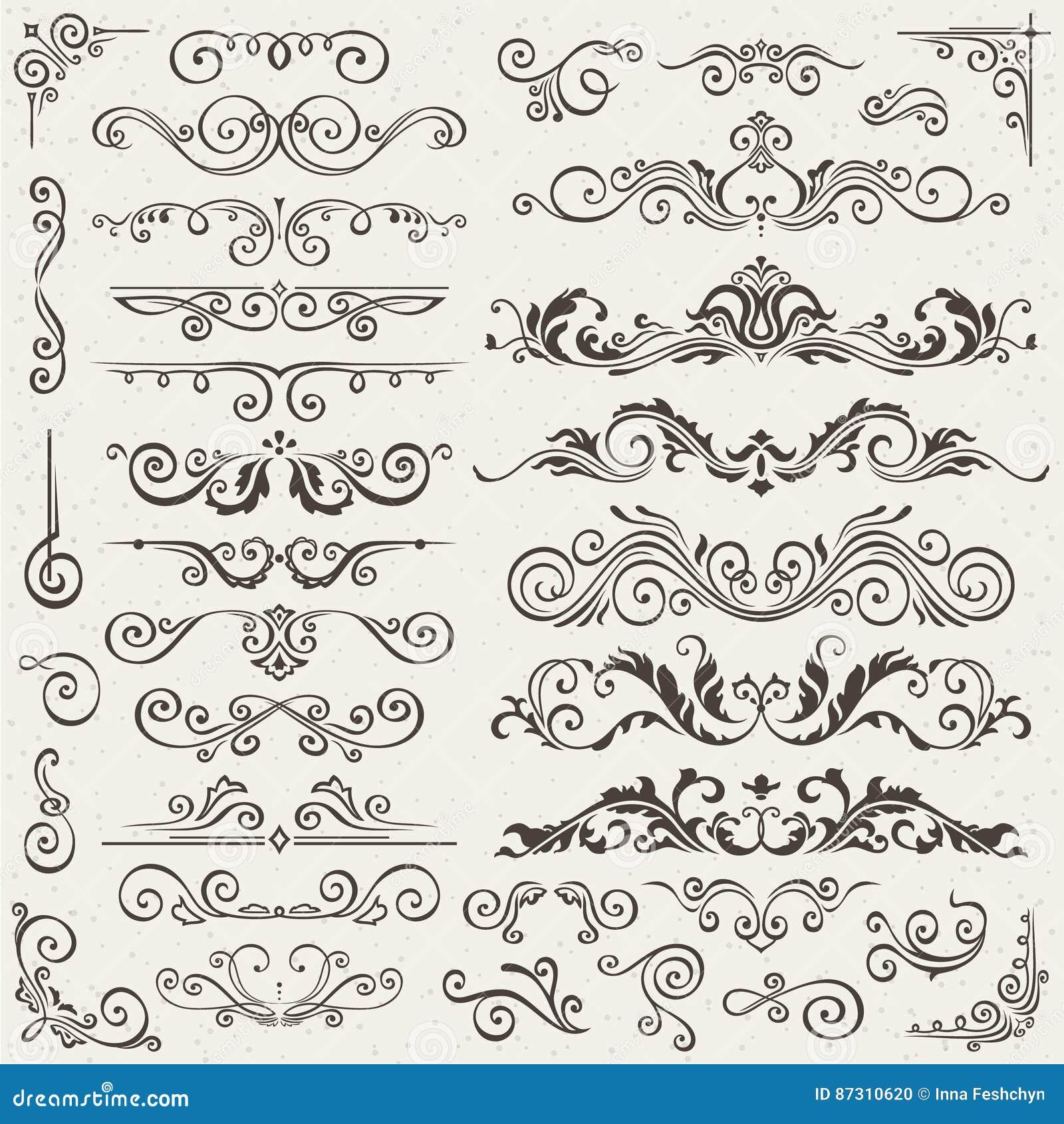 Bloei van het Grenshoek en Kader Elementeninzameling Vectorkaartuitnodiging Victoriaanse Kalligrafische Grunge Huwelijk