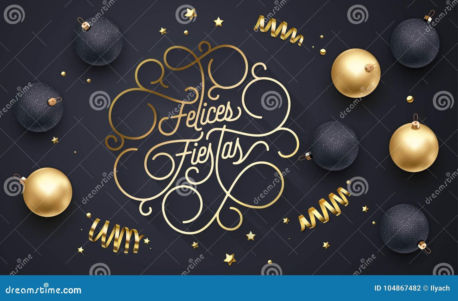 Bloeit Spaanse Vrolijke Kerstmis Navidad van Felicesfiesta s het gouden kalligrafie van letters voorzien van swash gouden typogra