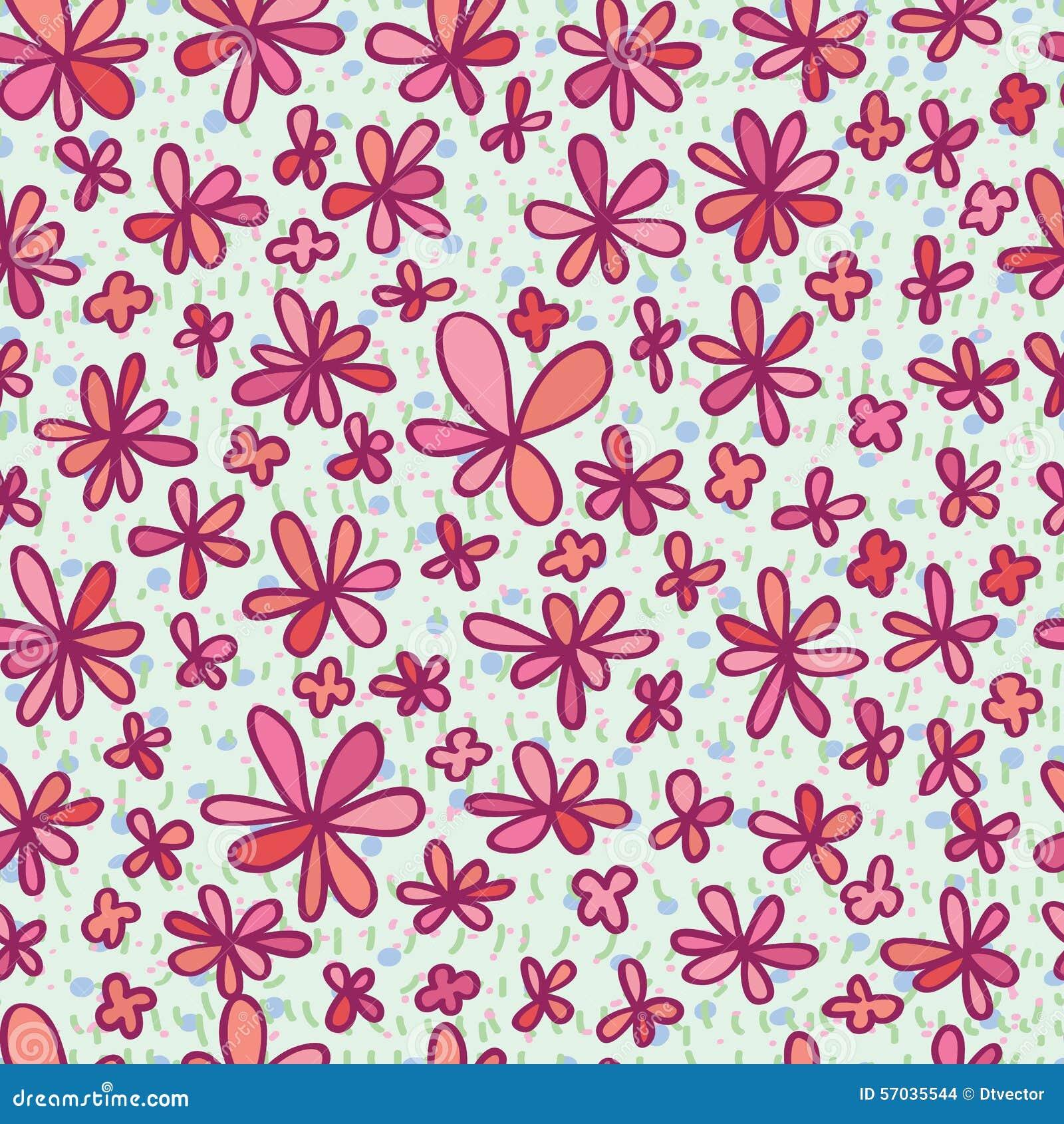Bloem die roze naadloos patroon trekken