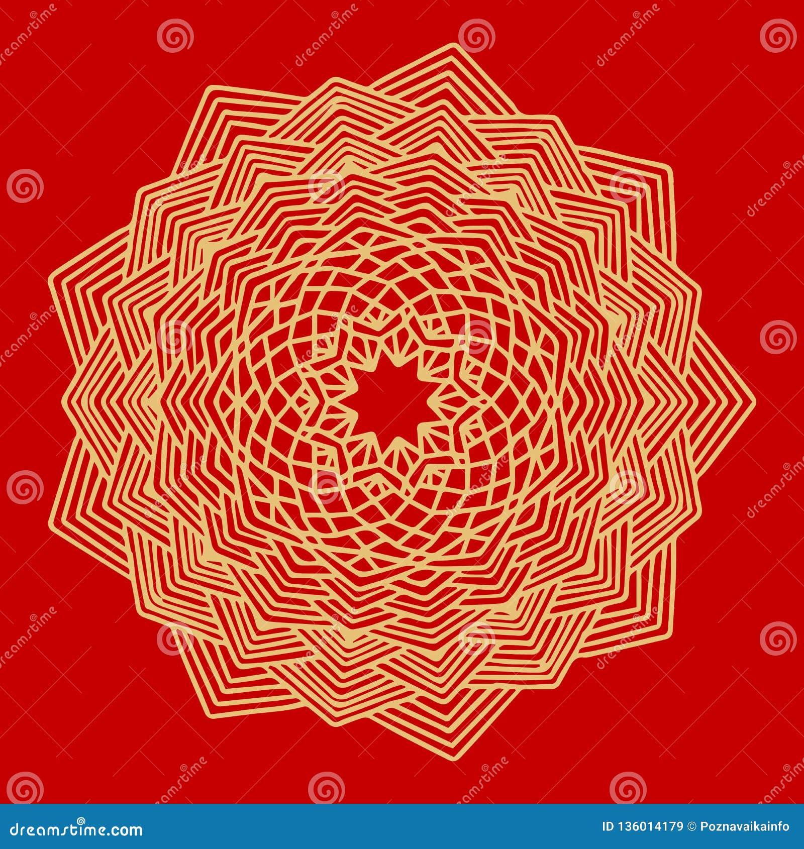 Bloem Gouden Mandala Uitstekende decoratieve elementen Oosters patroon, vectorillustratie Indisch ornament Geïsoleerd op a