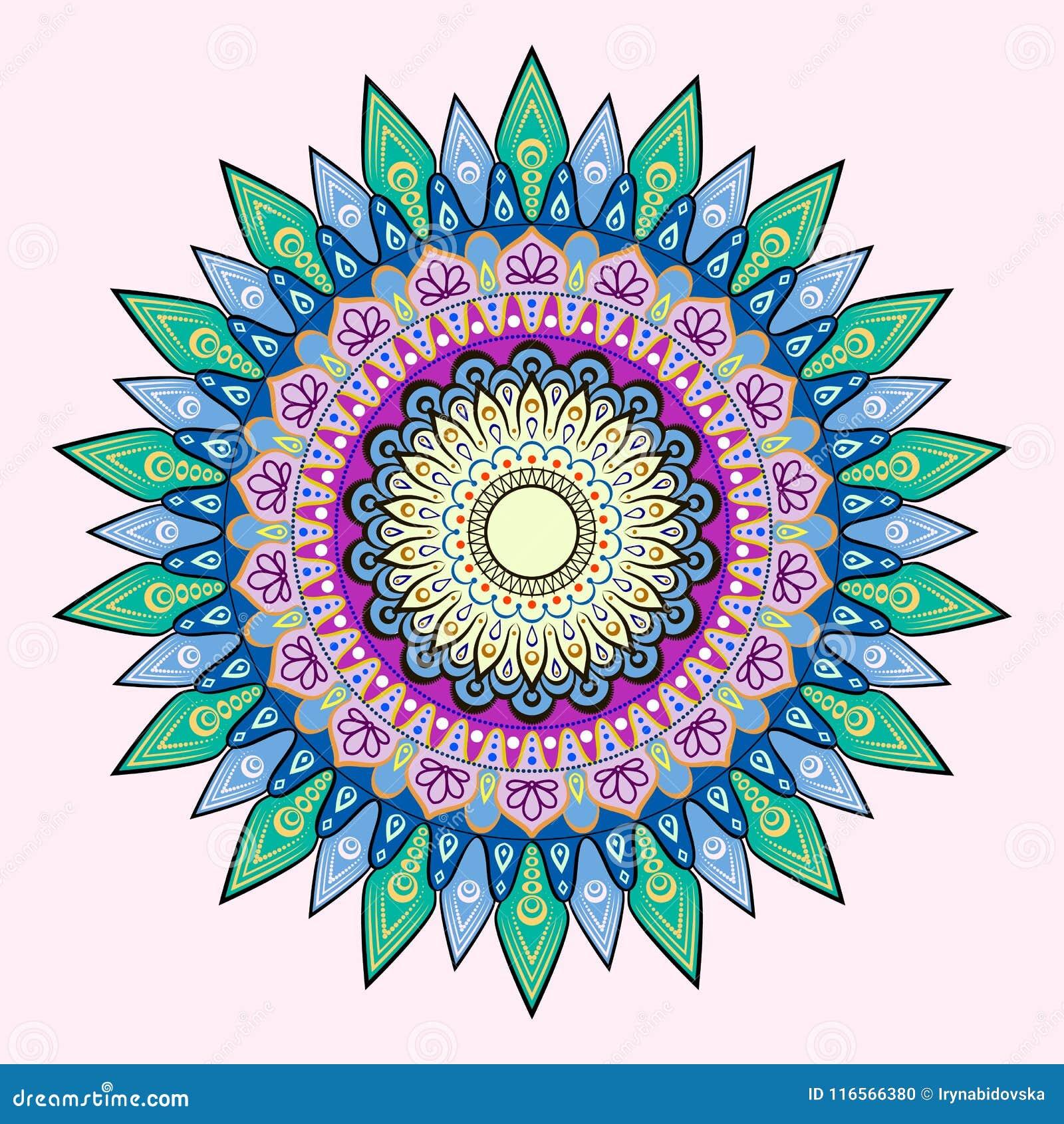 Bloem Mandala Uitstekende decoratieve elementen Oosters patroon, gekleurde vectorillustratie