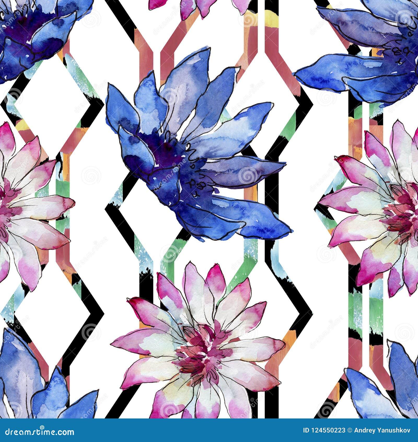 Bloem van het waterverf de kleurrijke Afrikaanse madeliefje Bloemen botanische bloem Naadloos patroon als achtergrond