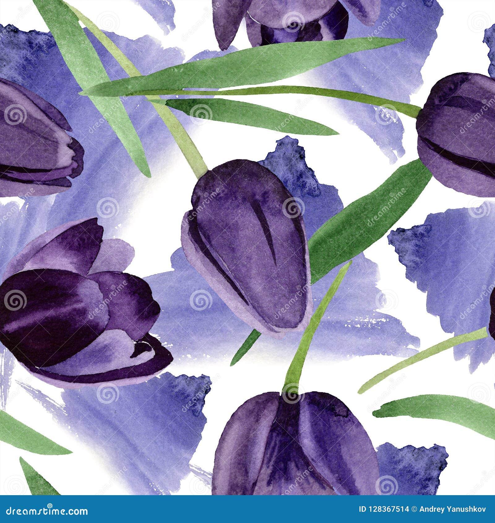 Bloem van waterverf de zwarte tulpen Bloemen botanische bloem Naadloos patroon als achtergrond