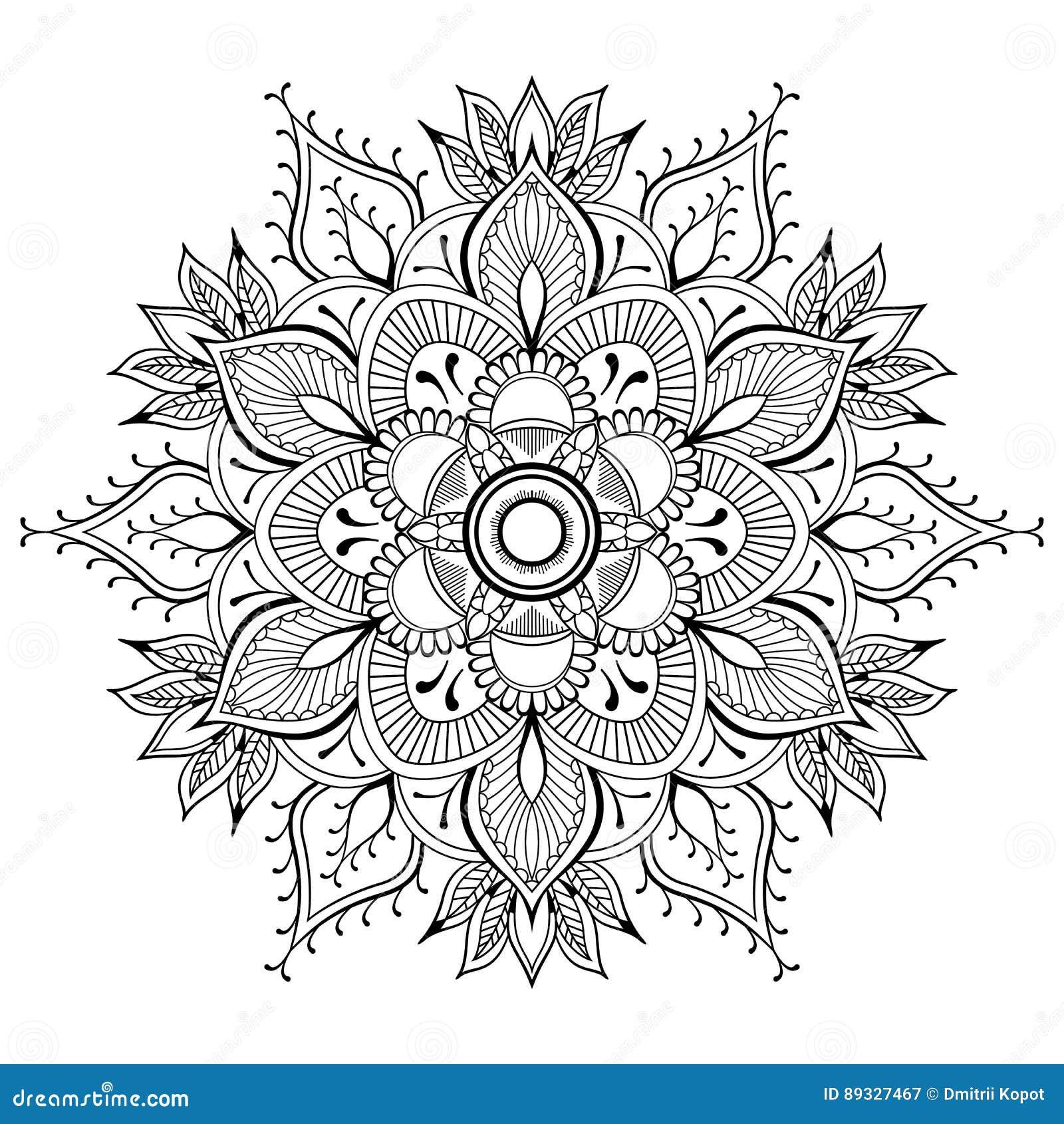bloem zwarte mandala oosters patroon, vectorillustratie
