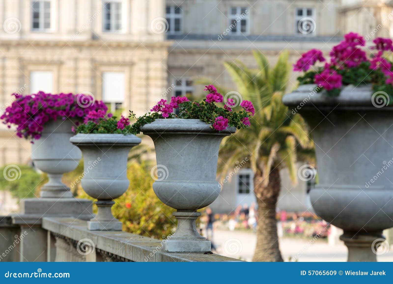 Bloembedhoogtepunt van bloemen in de tuin van Luxemburg, Parijs