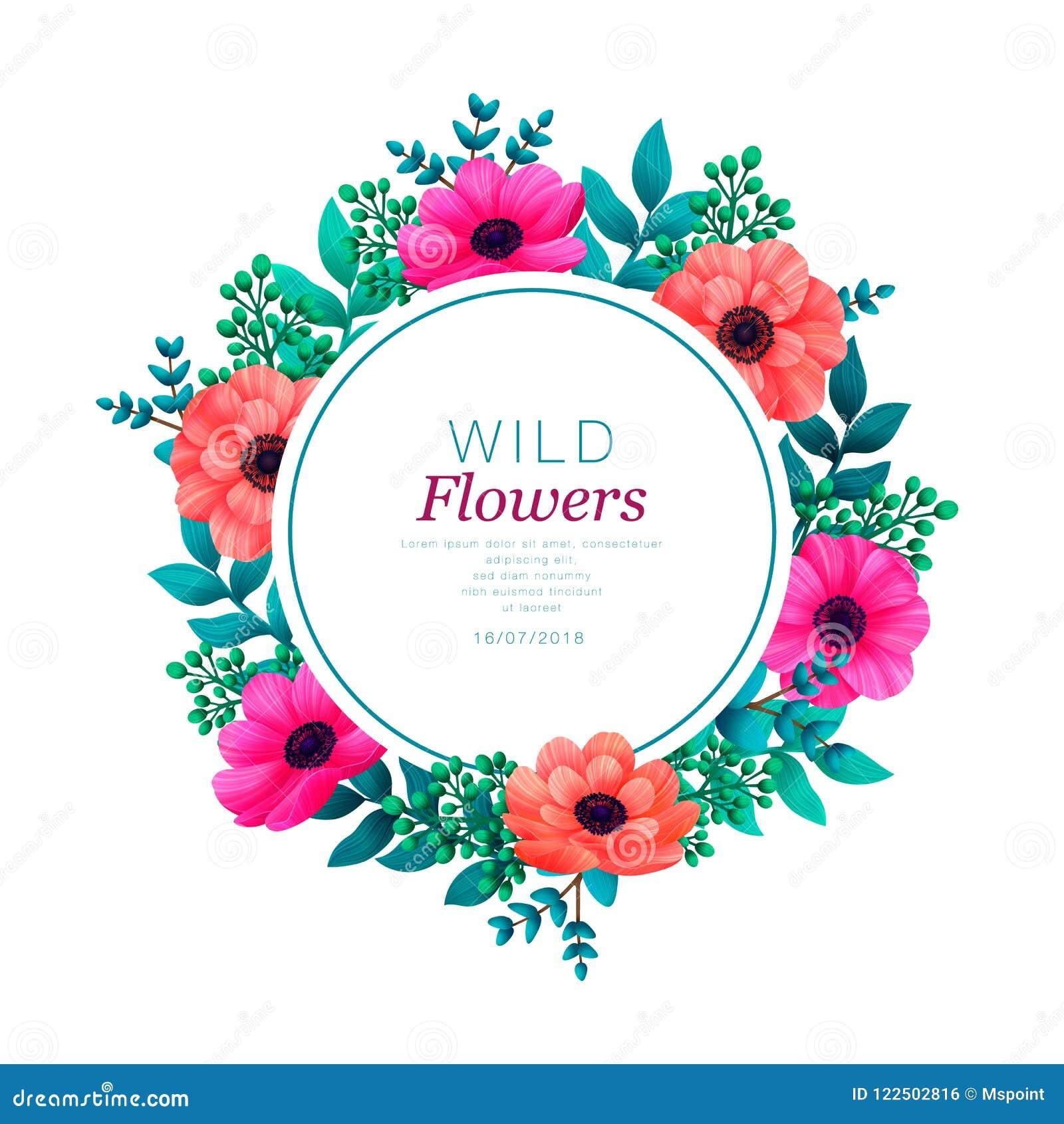 Bloemen cirkelframe Tropisch bloemen in malplaatje De zomerontwerp met mooie bloemen en bladeren met exemplaarruimte