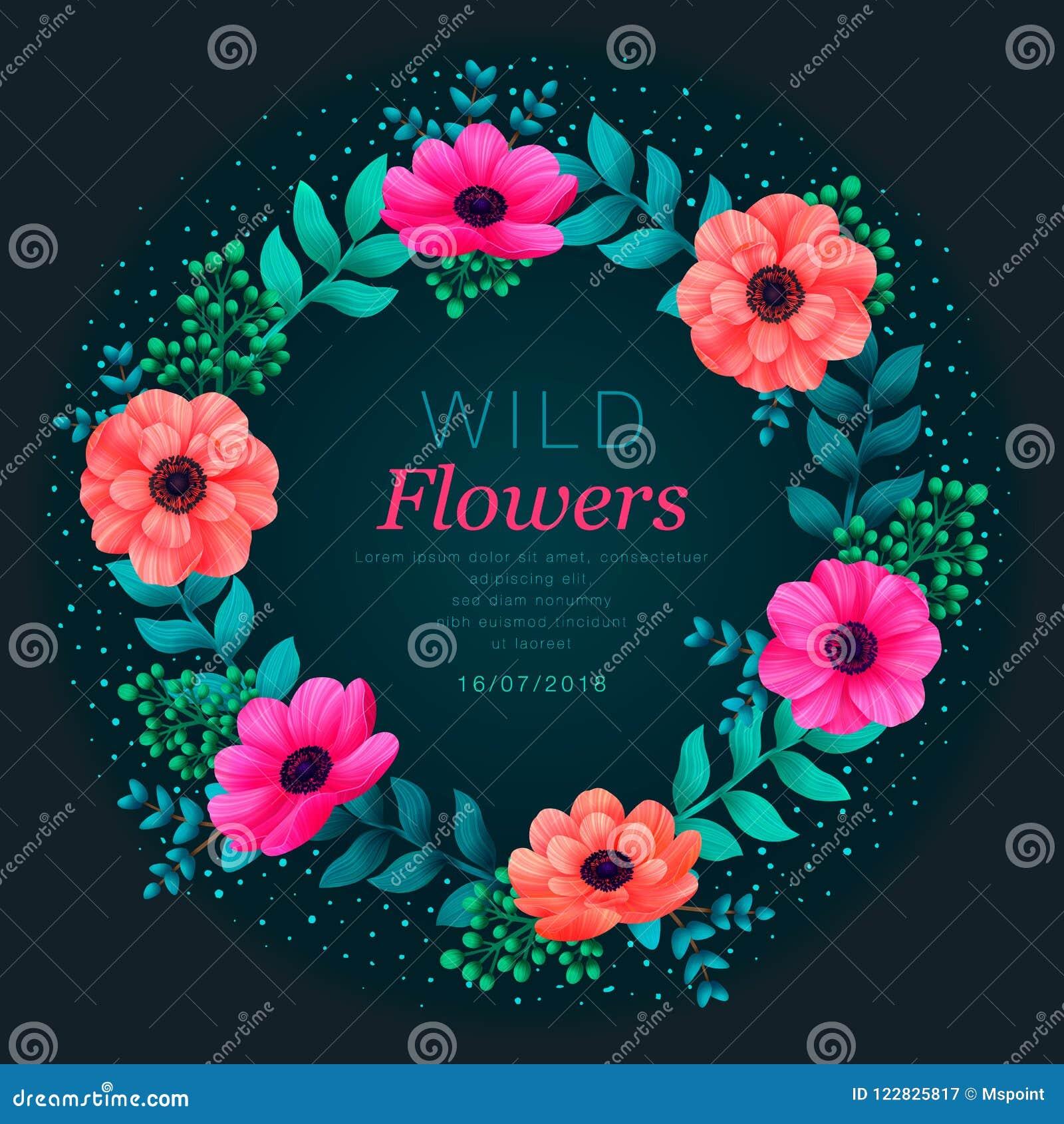 Bloemen cirkelframe Tropisch bloemen in malplaatje De zomerontwerp met mooie neonbloemen en bladeren met exemplaar