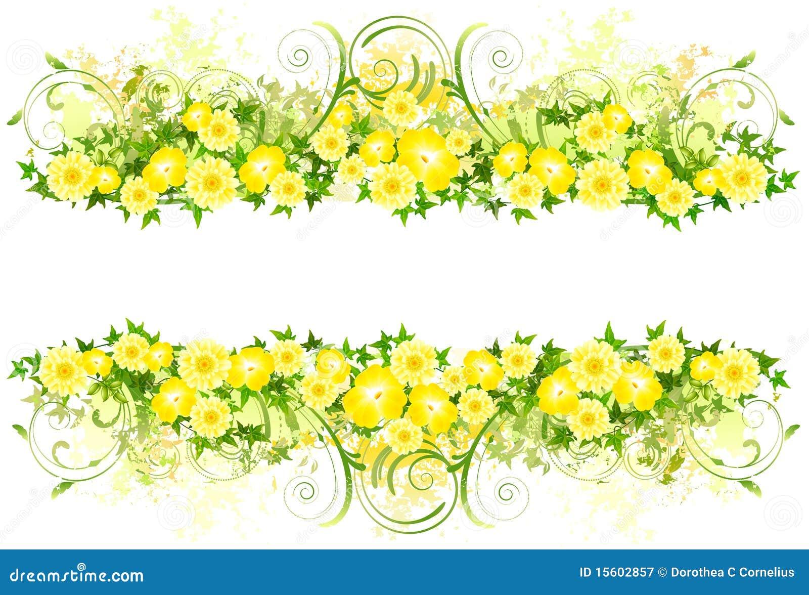 Bloemen decoratie met gele bloemen stock illustratie for Bloemen decoratie