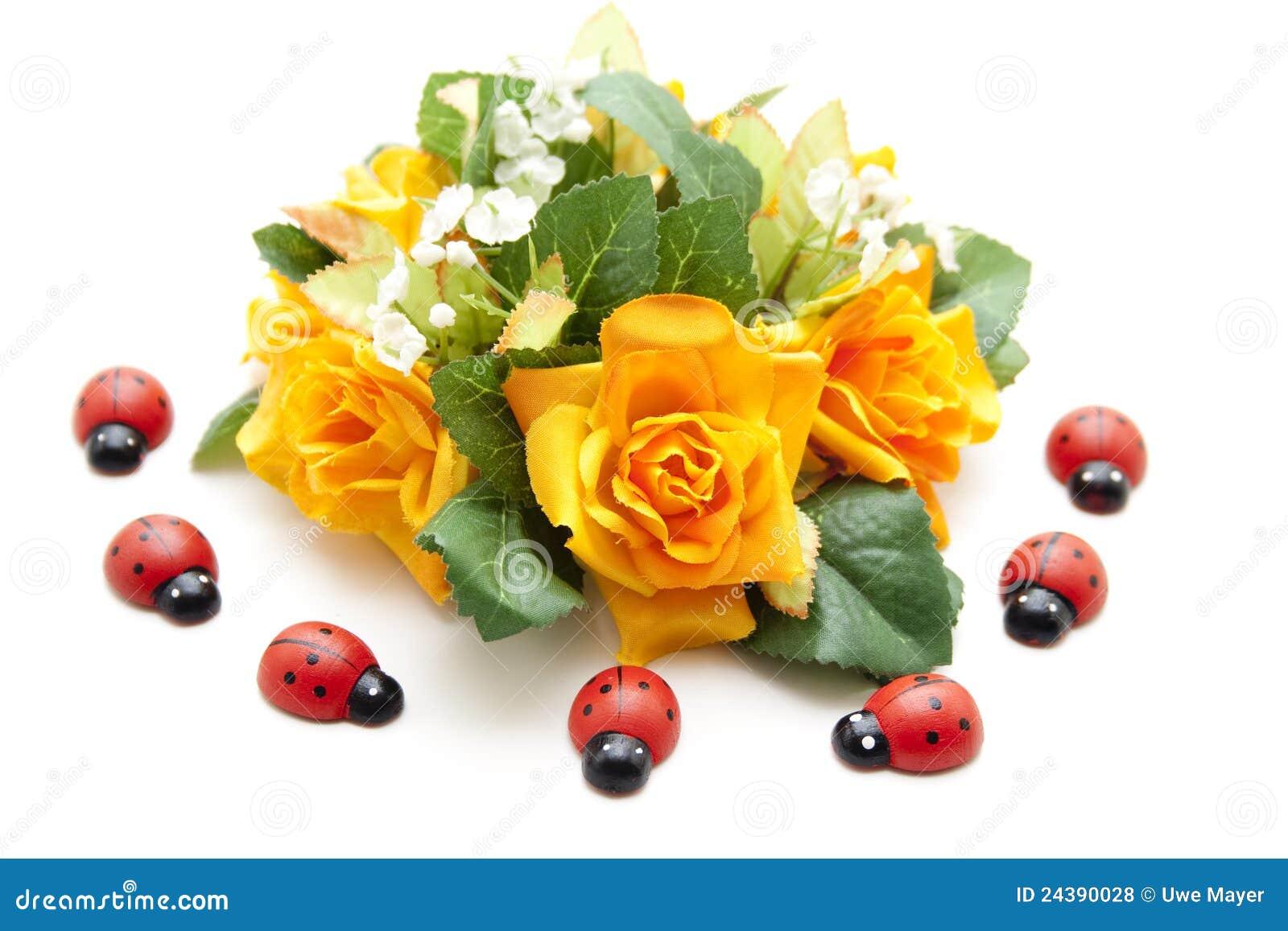 Bloemen decoratie met lieveheersbeestje stock foto for Bloemen decoratie