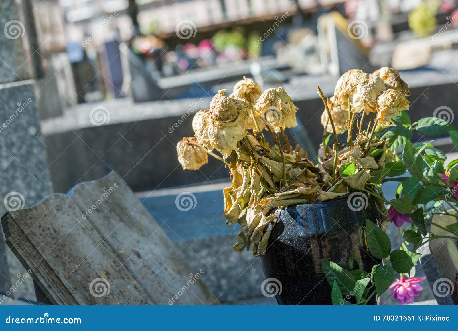 Bloemen in een begraafplaats met grafstenen op achtergrond