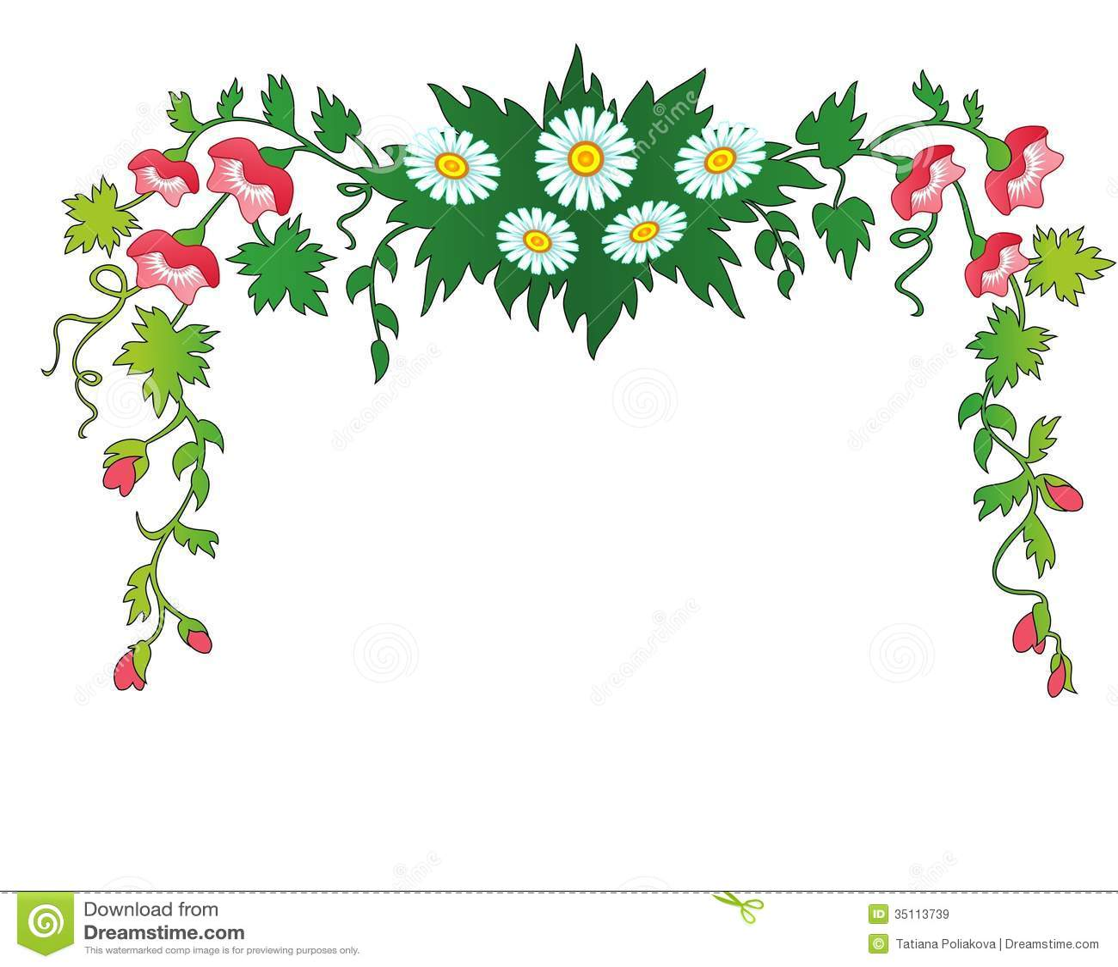 Bloemen En Bladeren Kader Vector Illustratie