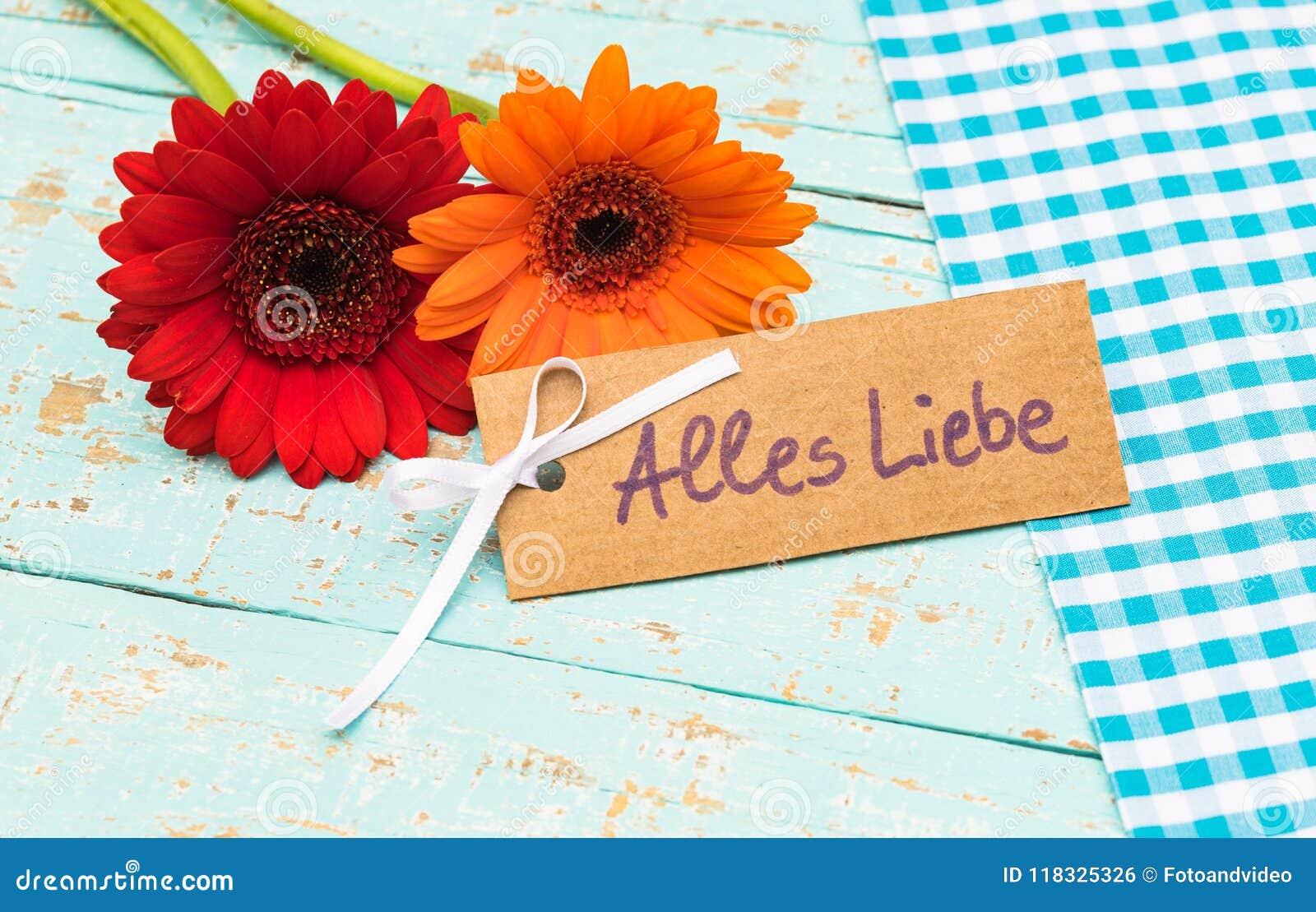 Bloemen en kaart met Duitse teksten, Alles Liebe, middelenliefde voor Vaders of Moedersdag