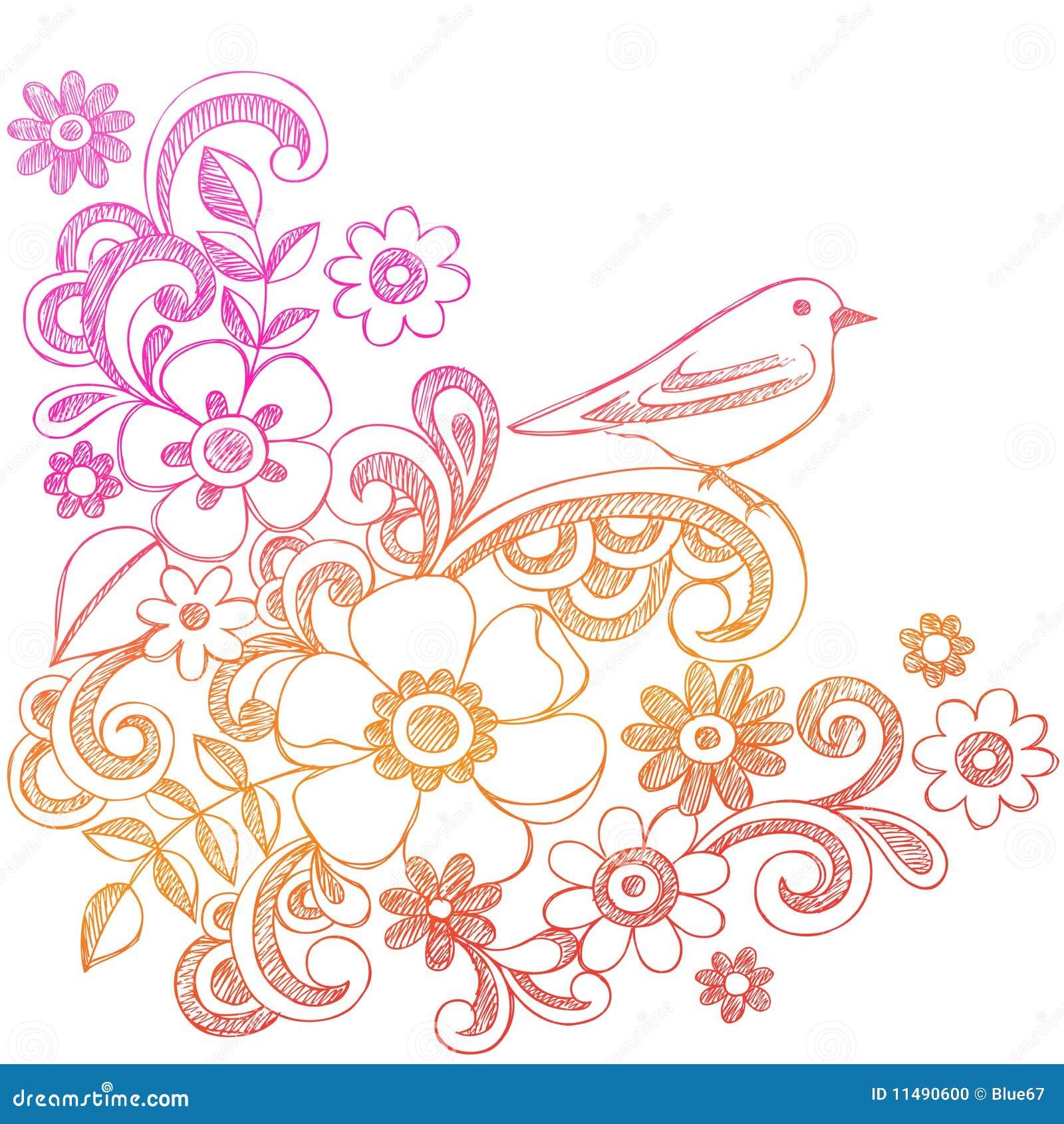 Bloemen en Krabbels van het Notitieboekje van de Vogel de Schetsmatige