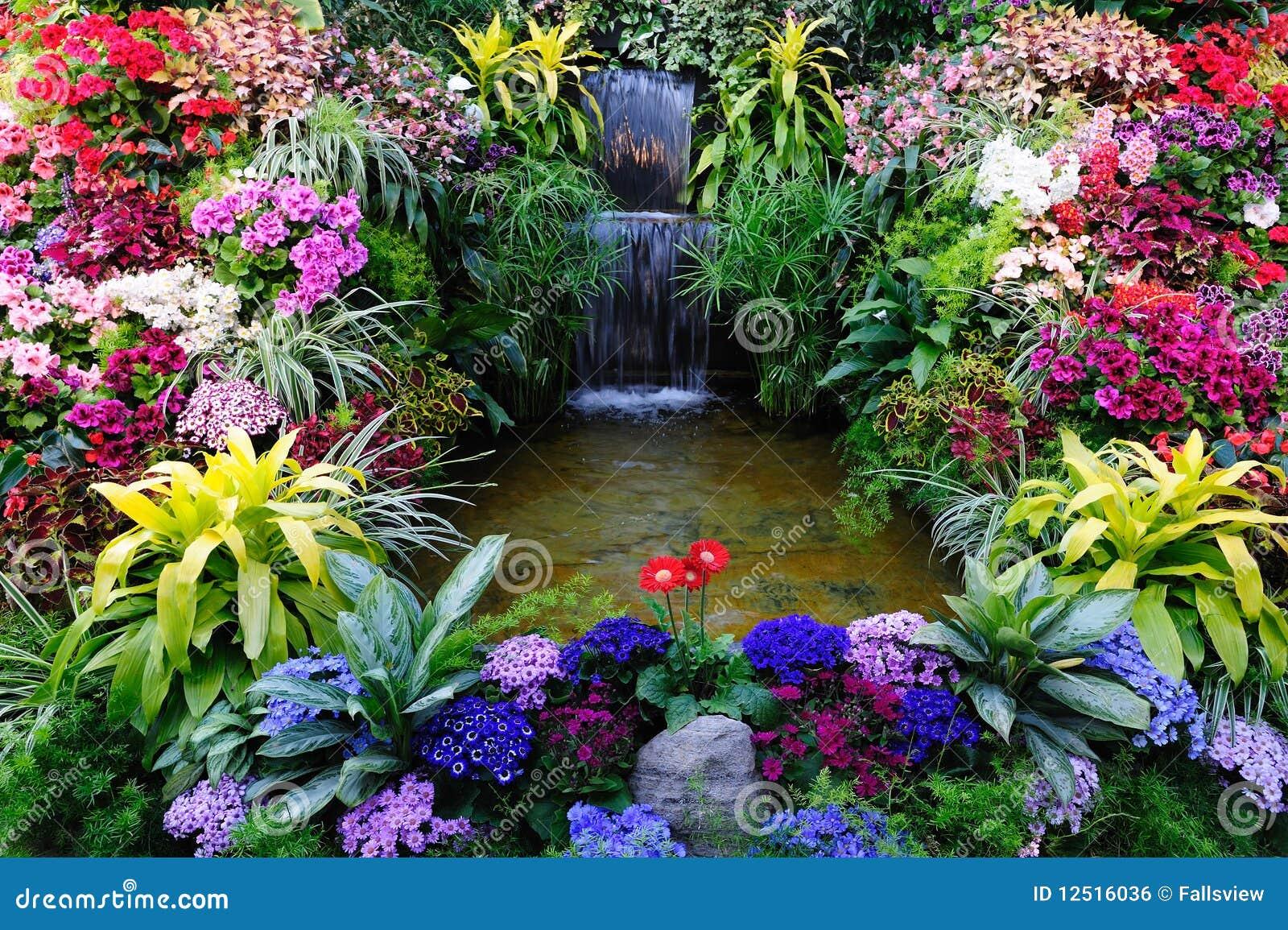 Bloemen en waterval
