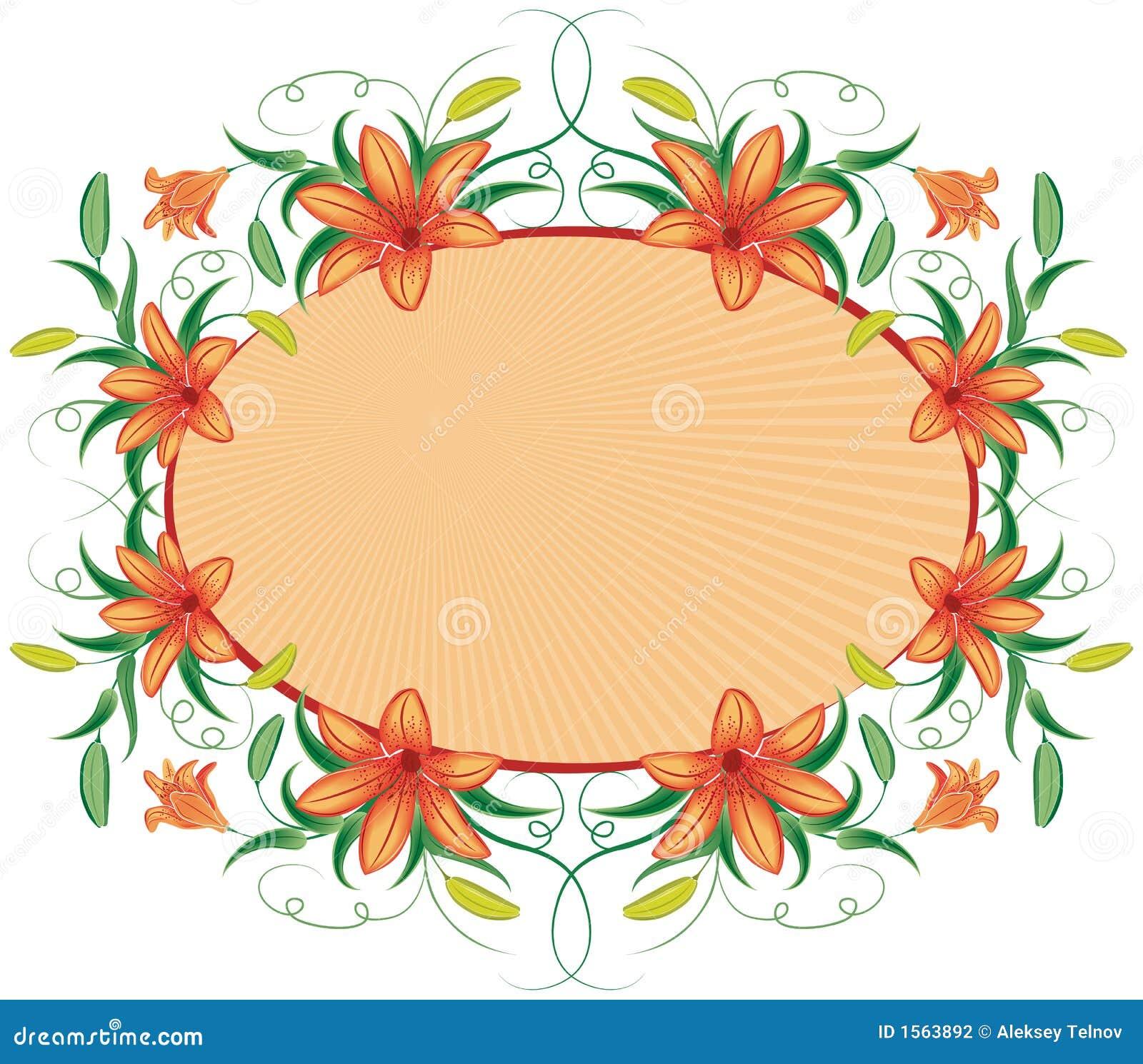 Bloemen frame met lelie, vector