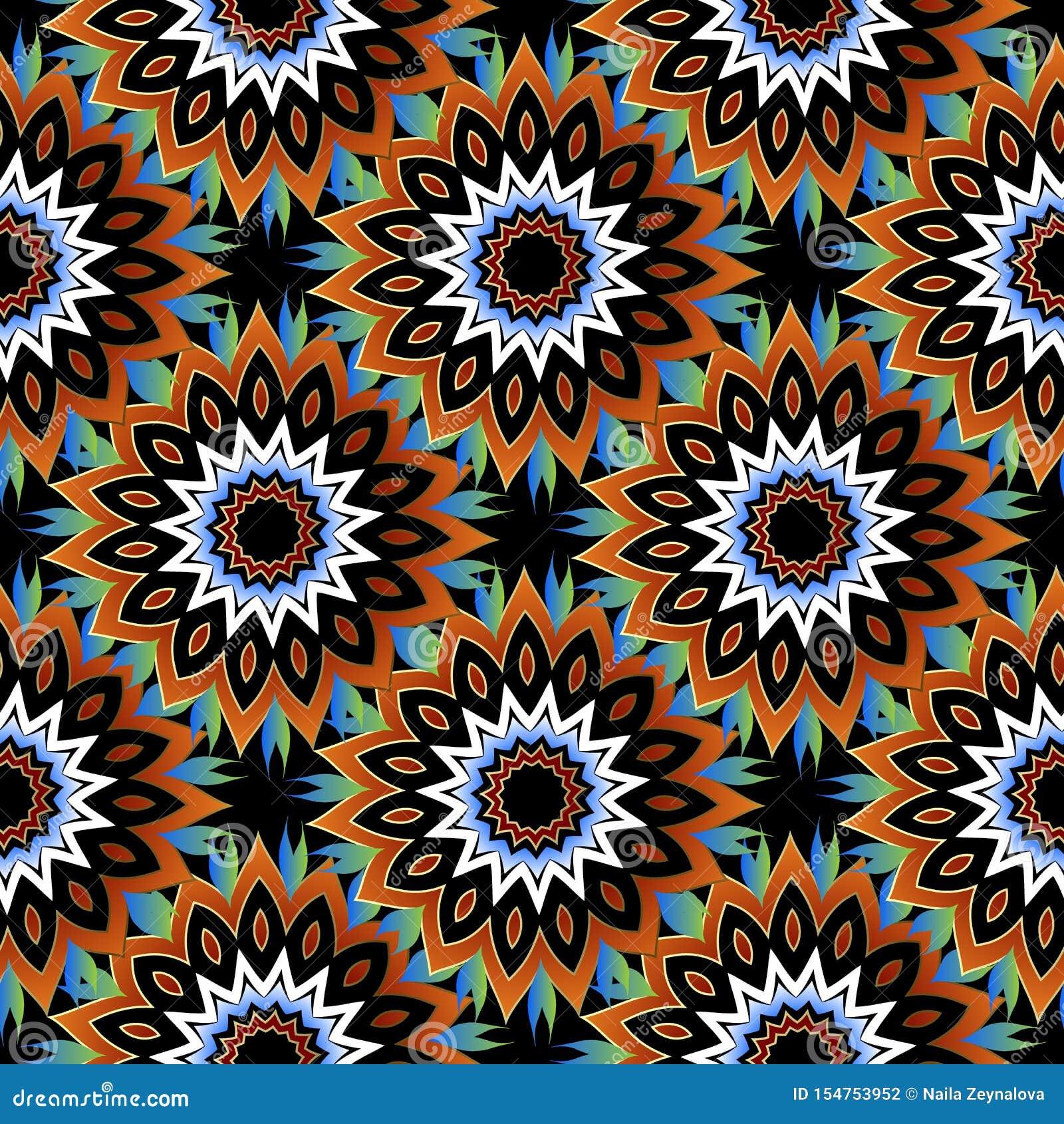 Bloemen kleurrijk naadloos patroon Decoratieve sier vectorachtergrond Het etnische ornament van stijl heldere abstracte bloemen h