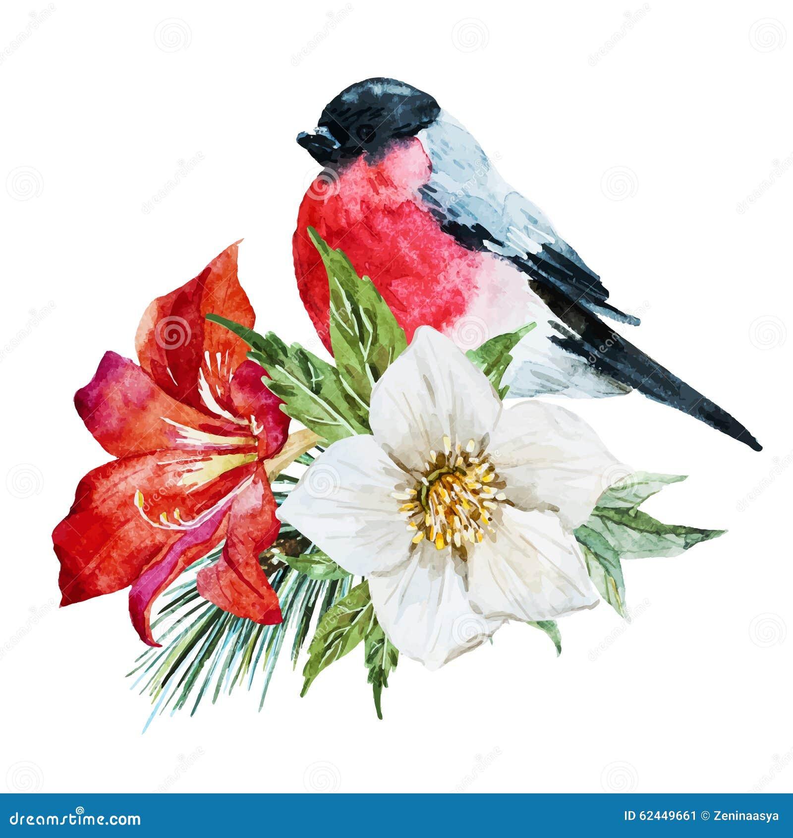 Bloemen met vogel
