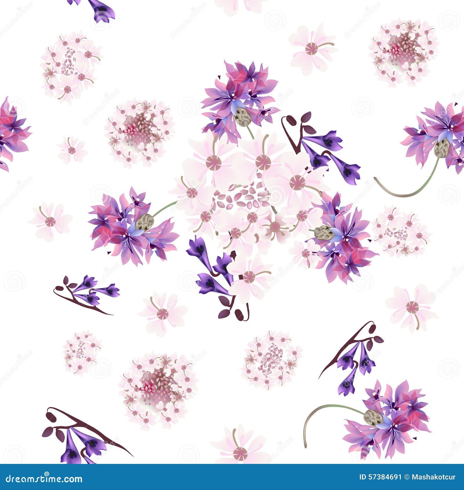 Bloemen naadloos behangpatroon met teder roze en purper F