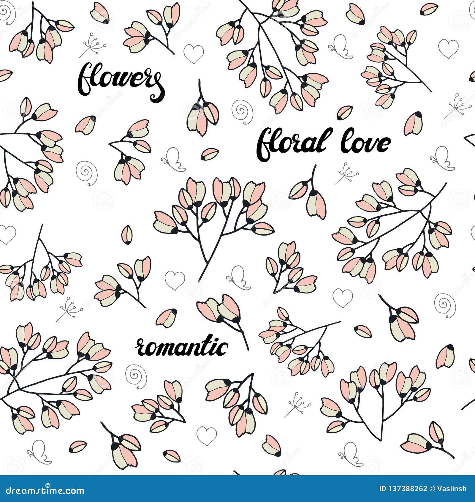 Bloemen naadloos die patroon van roze gestileerde bloemen en het van letters voorzien wordt gemaakt Eindeloze textuur voor romant