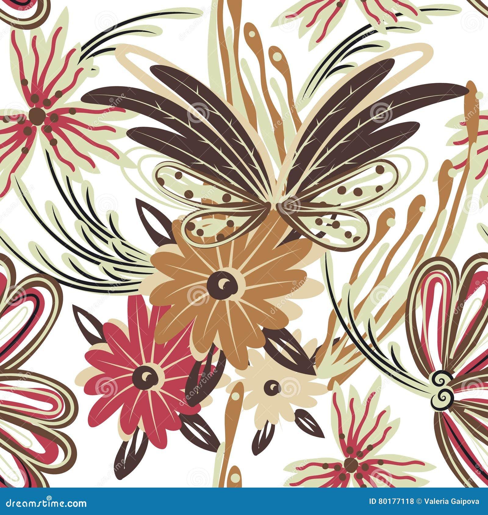 Bloemen naadloos patroon Hand getrokken creatieve bloem Kleurrijke artistieke achtergrond met bloesem Abstract kruid