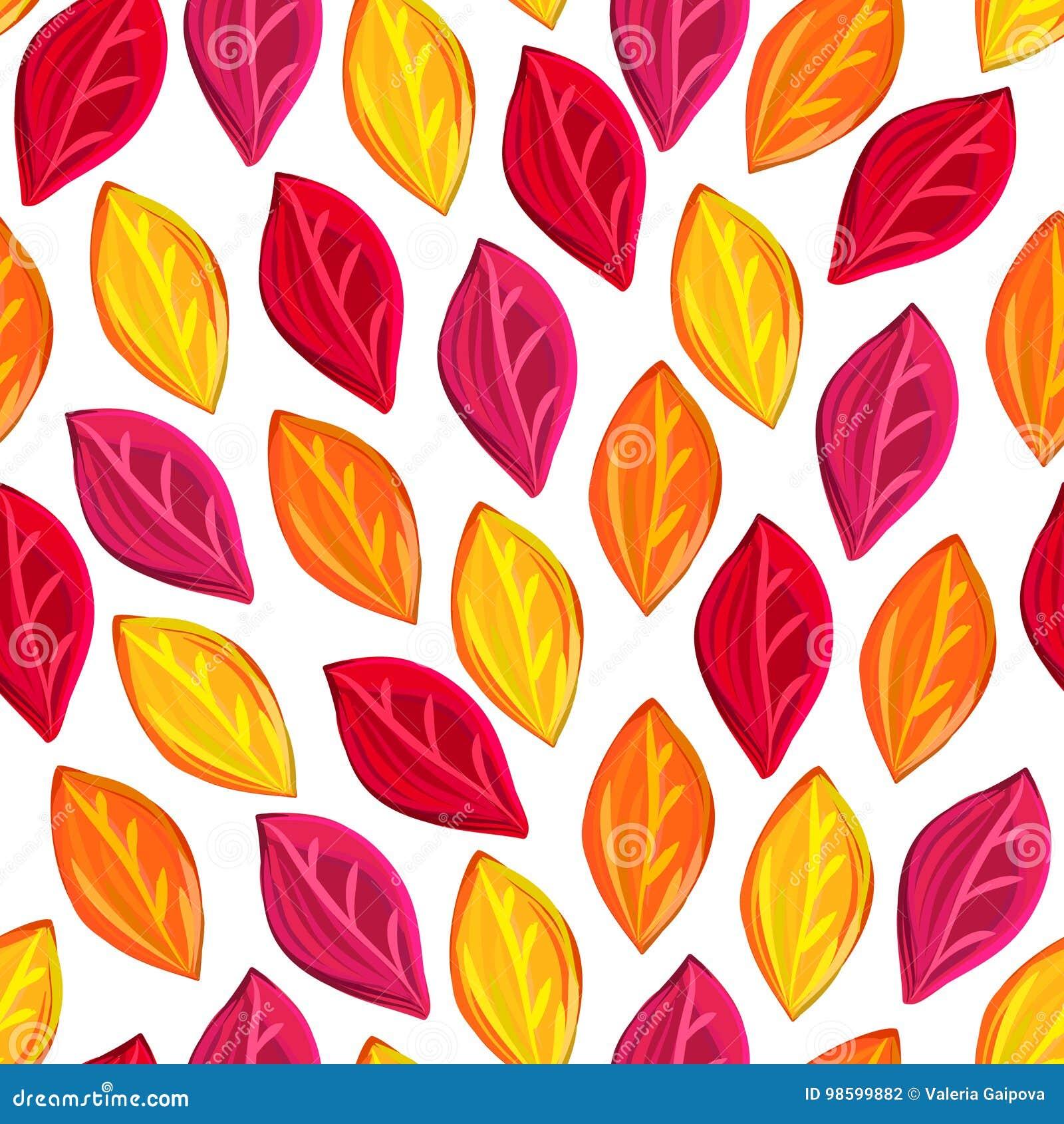 Bloemen naadloos patroon met gevallen bladeren De herfst De daling van het blad Kleurrijke artistieke achtergrond