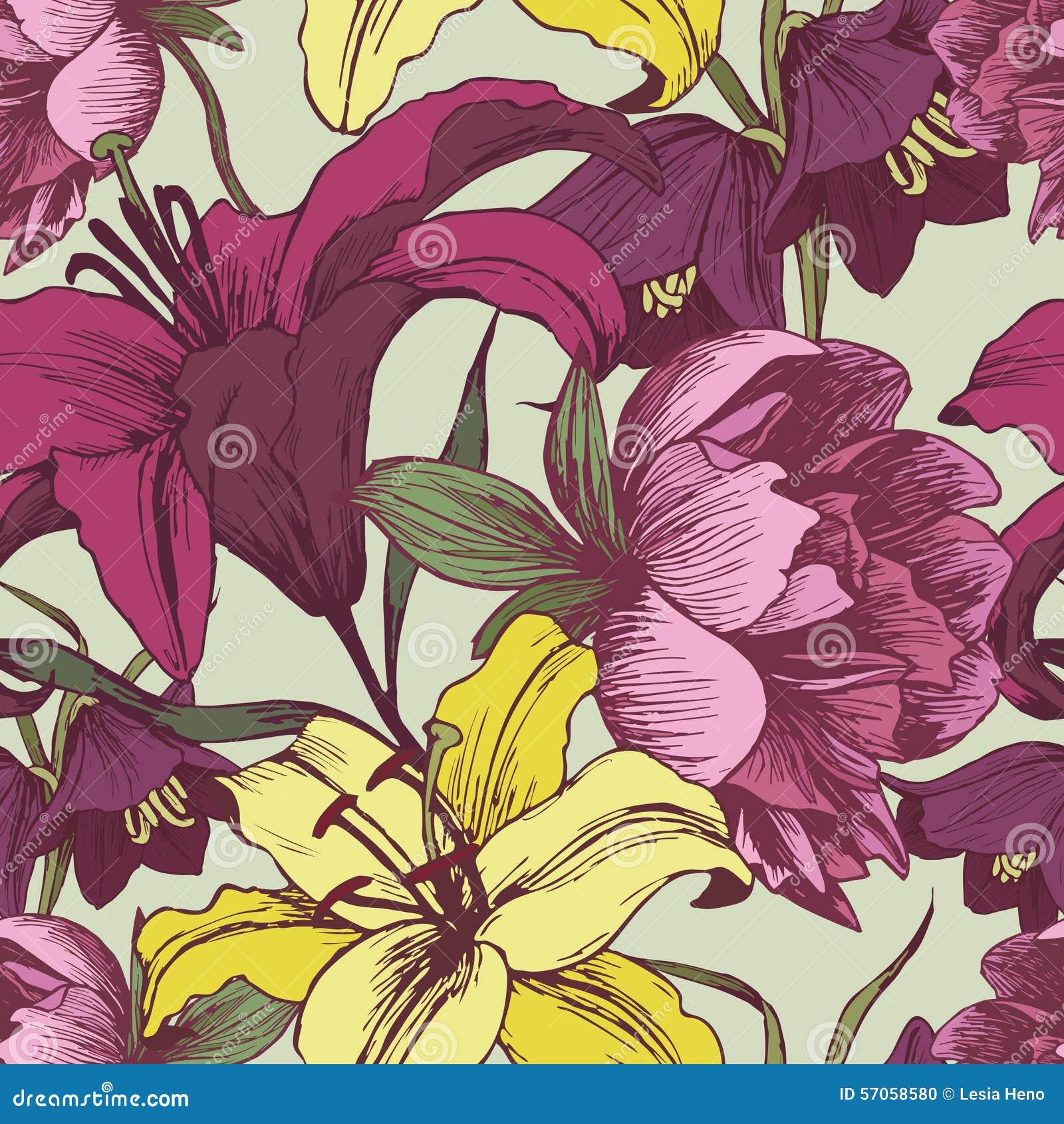 Bloemen naadloos patroon met pioenen en lelies