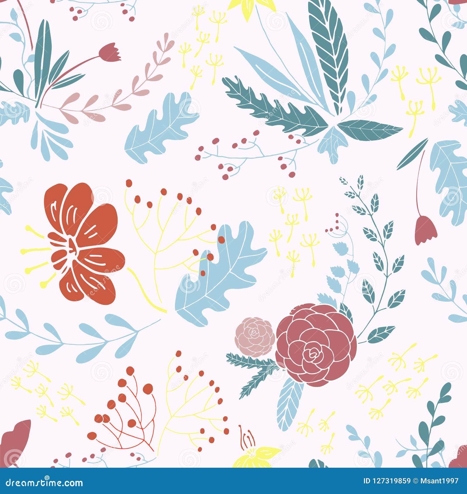 Bloemen naadloos patroon ter beschikking getrokken ontwerp