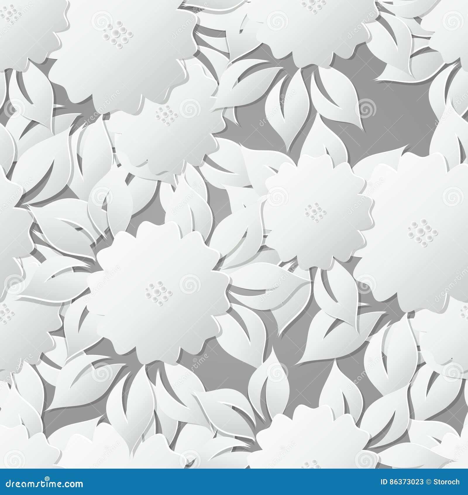 Bloemen Naadloze Patroonachtergrond met 3D elementen met schaduw