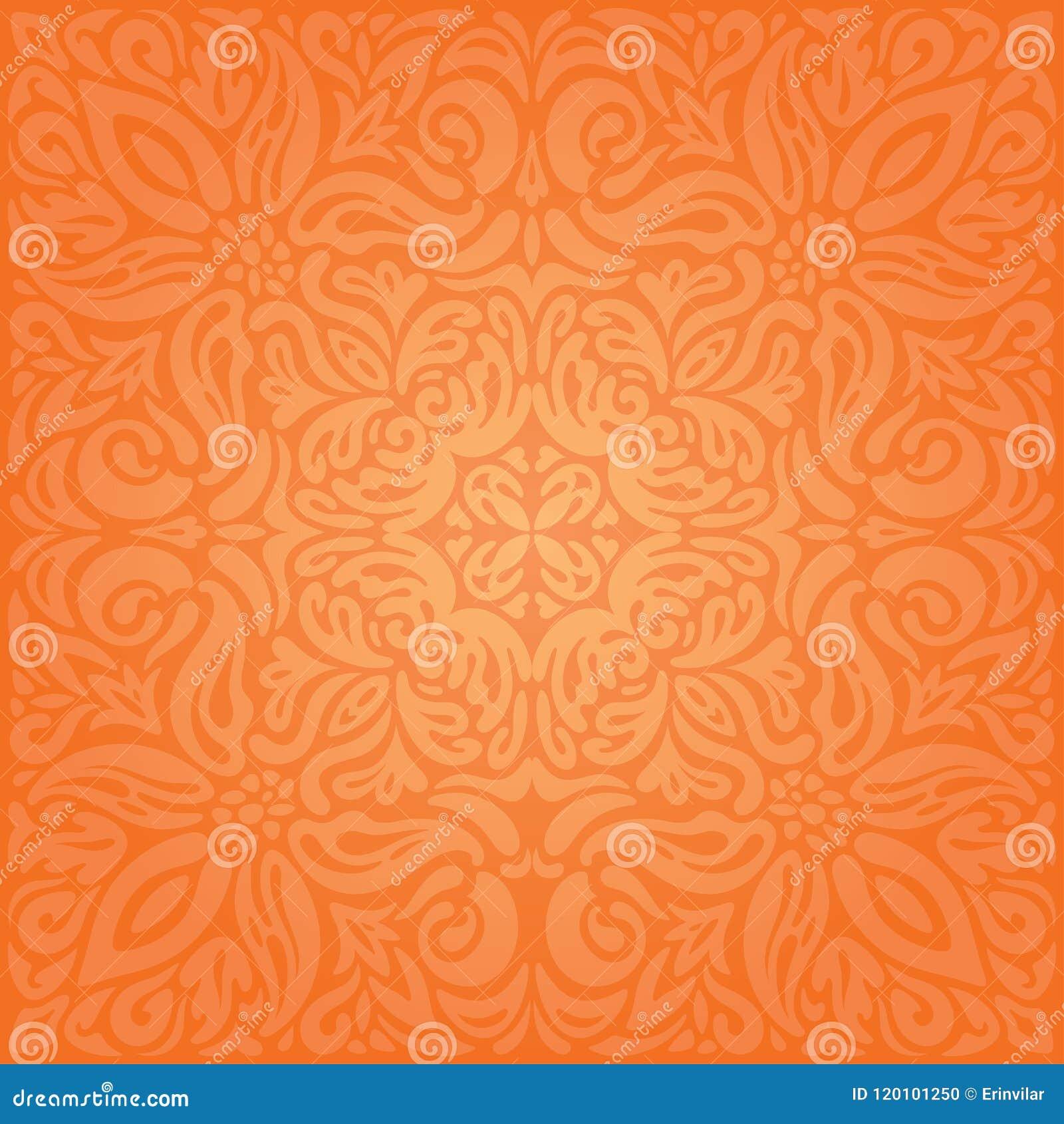 Bekend Bloemen Oranje Retro Van Het Stijl Kleurrijke Behang Uitstekende &NB68