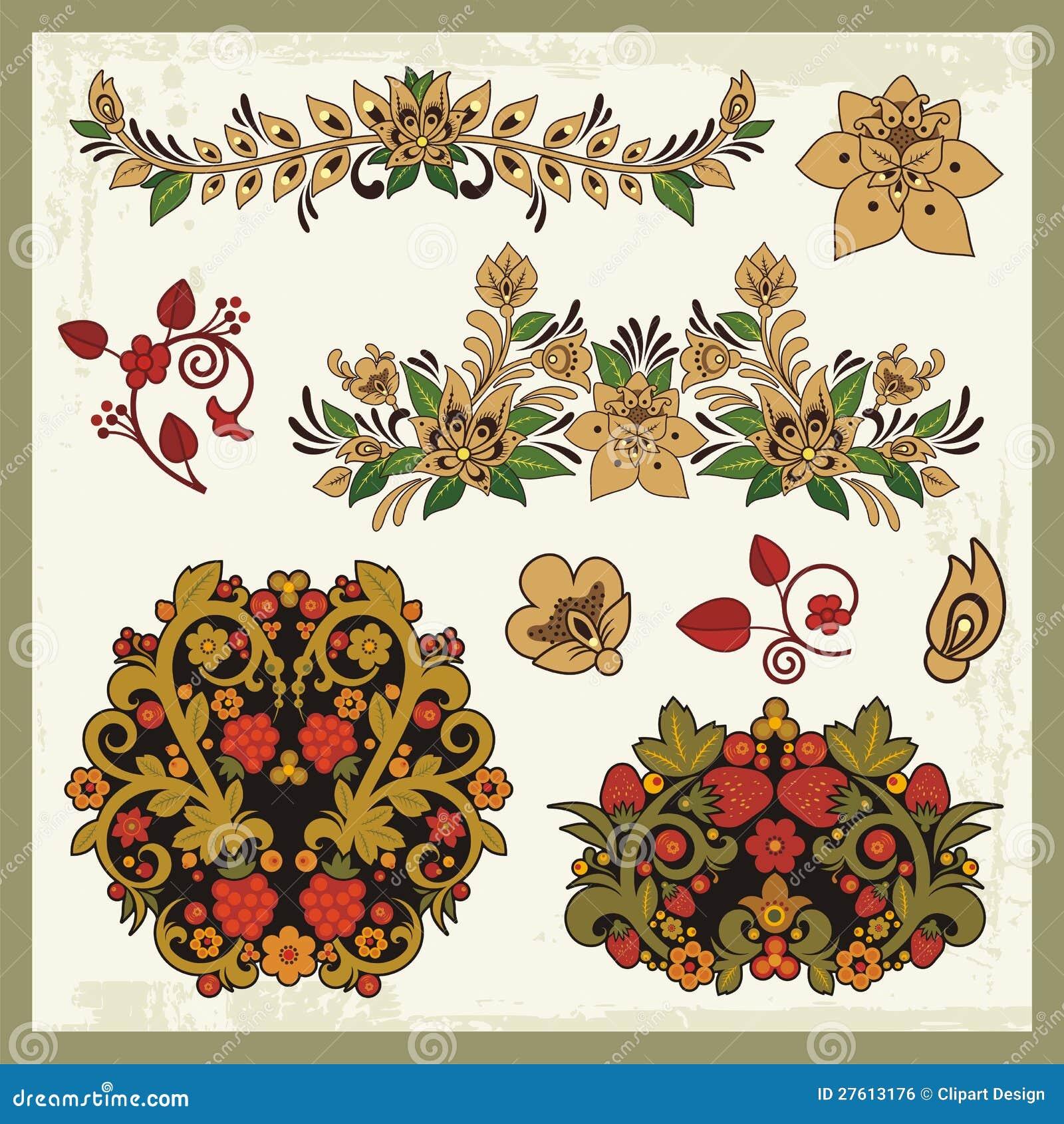Royalty vrije stock afbeelding bloemen ornamenten in russische stijl