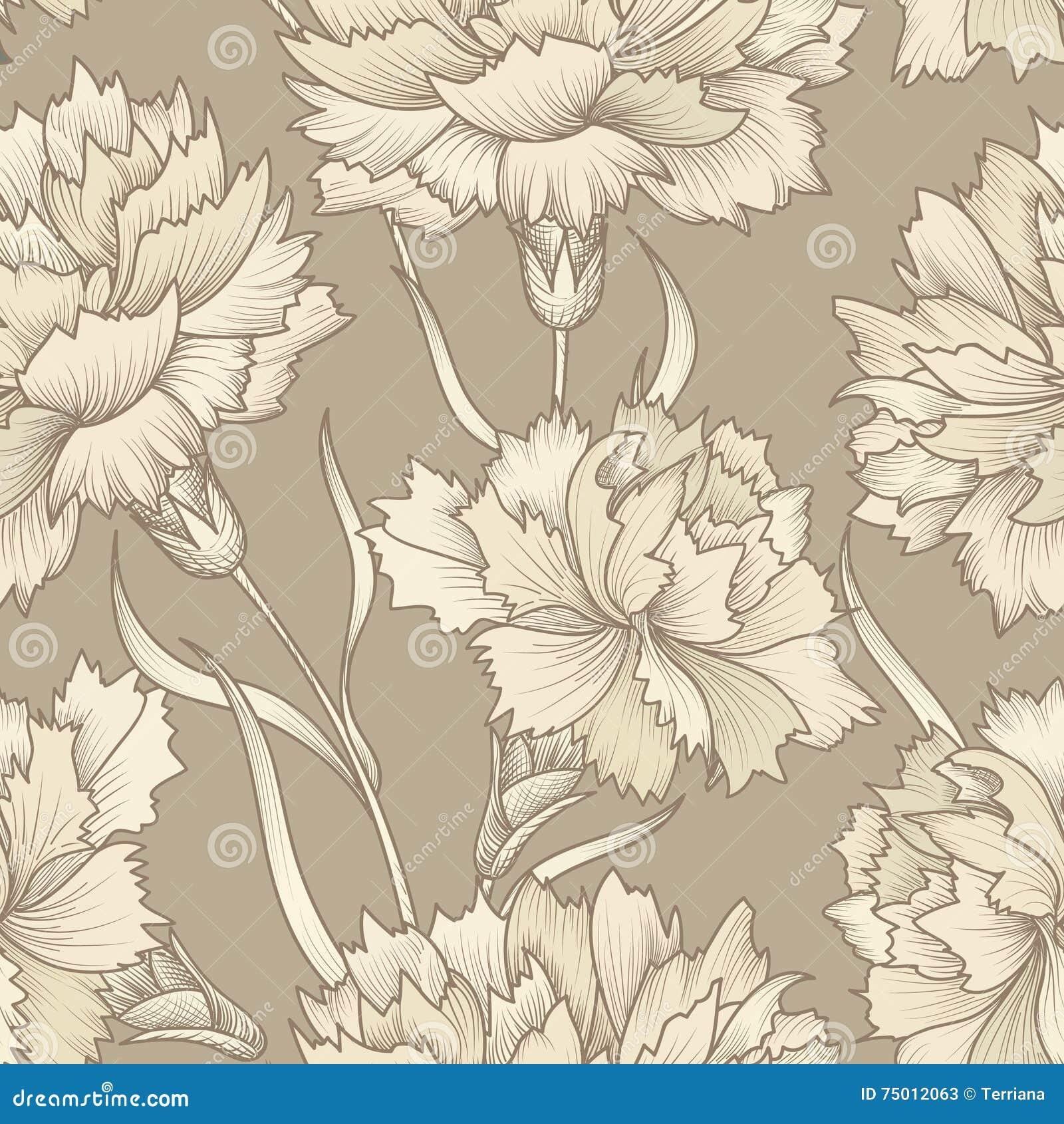 Bloemen retro naadloos patroon De achtergrond van de bloem Bloemenseamles