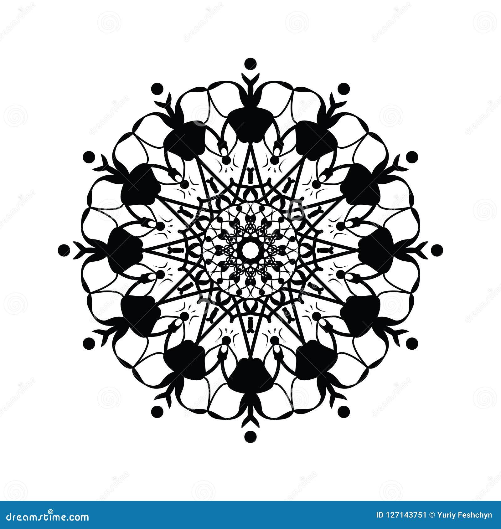 Bloemen rond decoratief symbool Uitstekende decoratieve elementen abstracte achtergrond