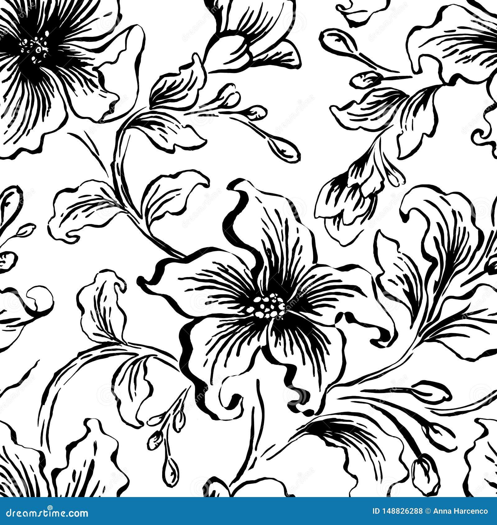 Bloemen seFloral naadloos patroon Abstracte overladen bloemen uitstekende textuur Decoratieve siertextiel, behang, het verpakken