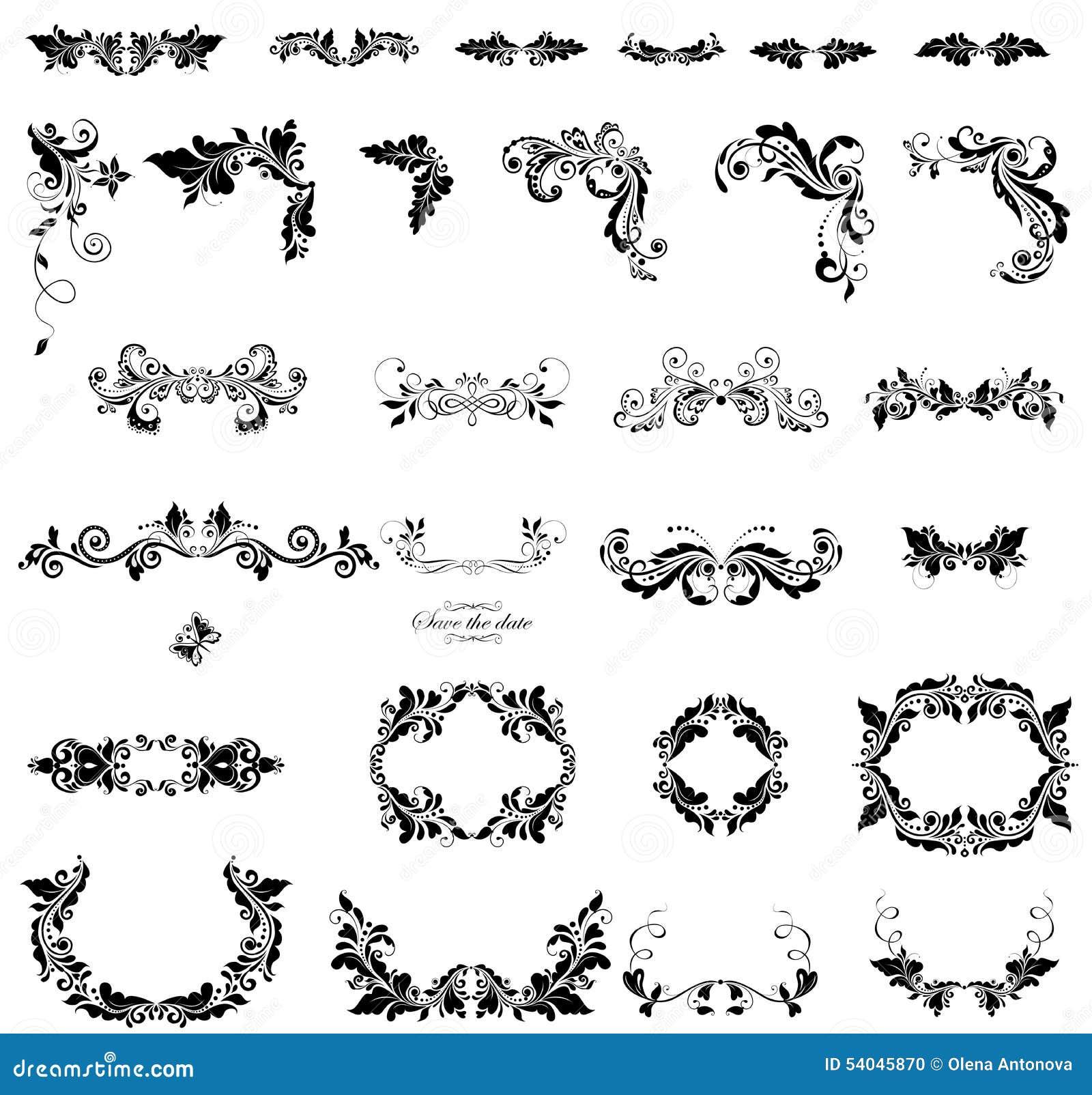 Bloemen zwart witte versiering vector illustratie afbeelding 54045870 - Poel van blanco hoek ...