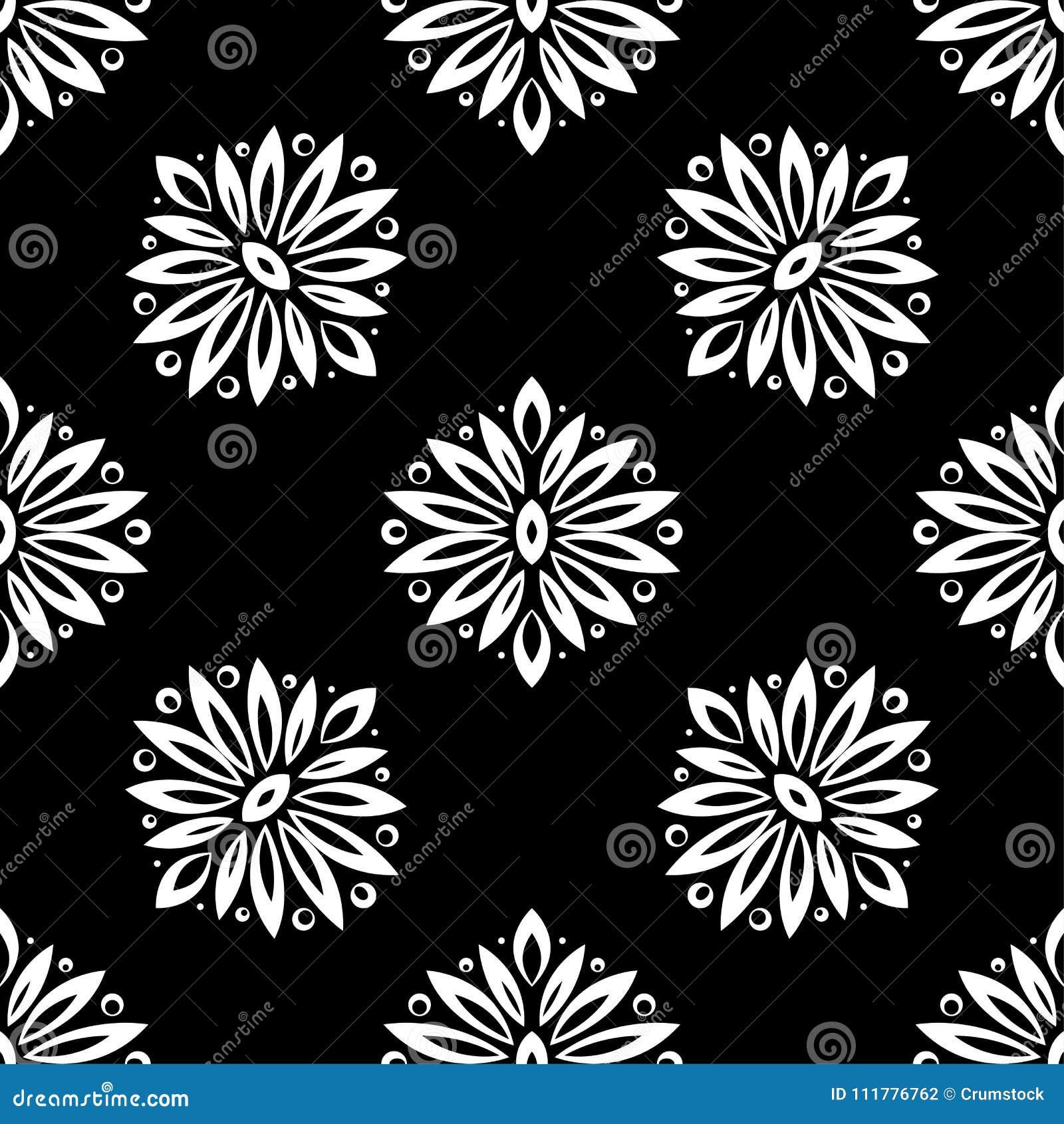 Bloemenachtergrond met zwart-wit naadloos patroon