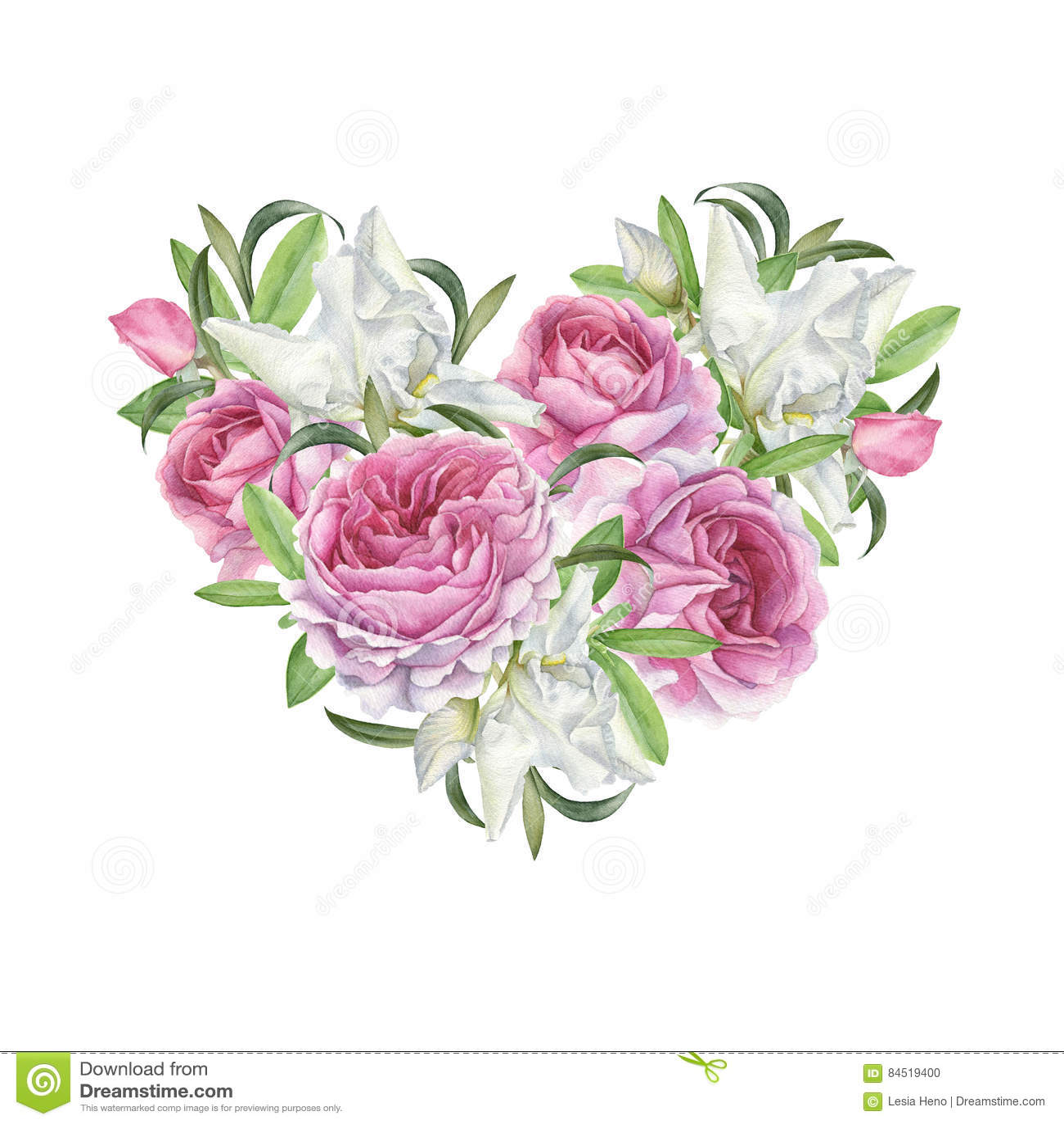 Bloemengroetkaart met hart van bloemen