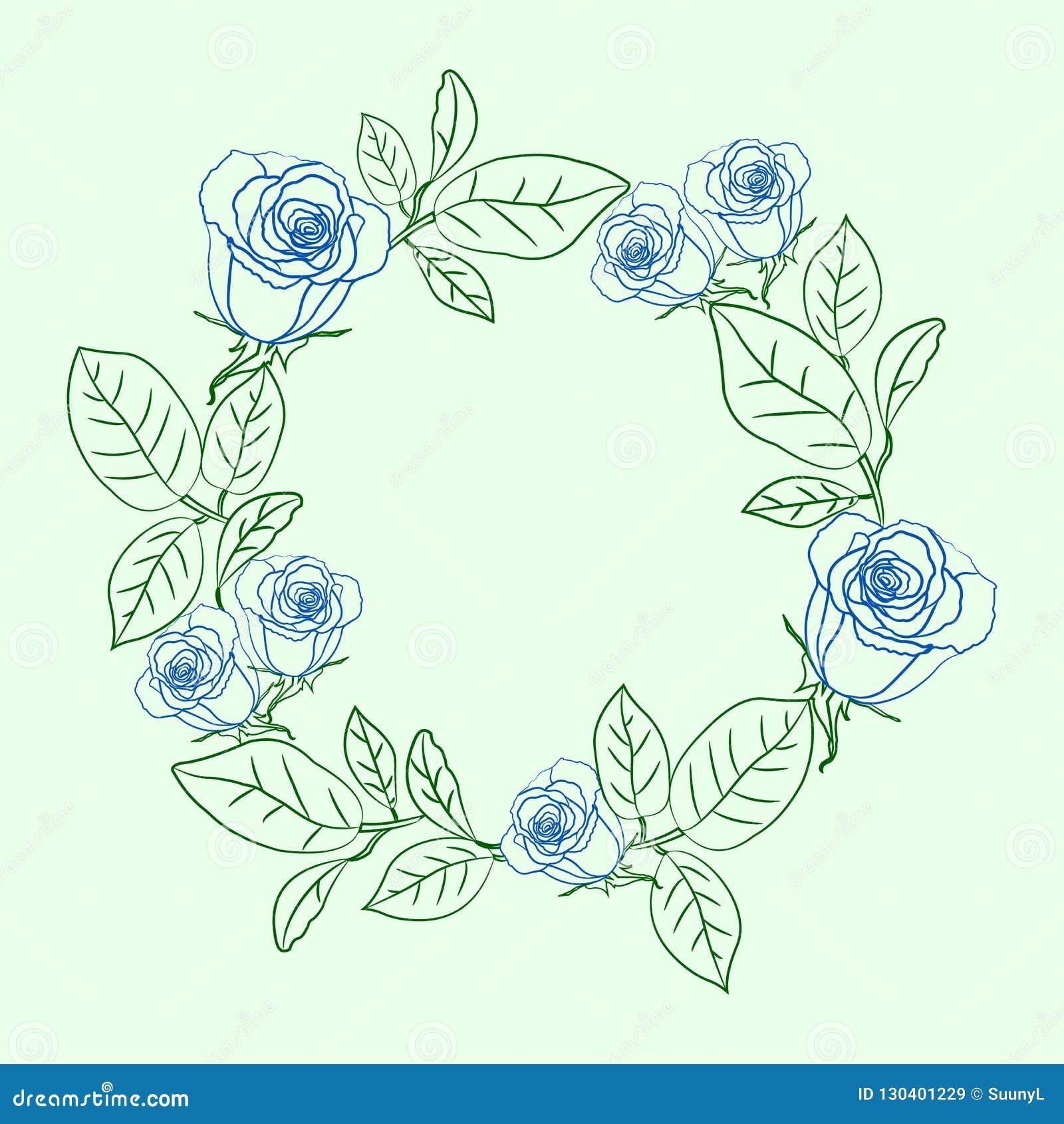 Bloemenkroon met blauwe rozen