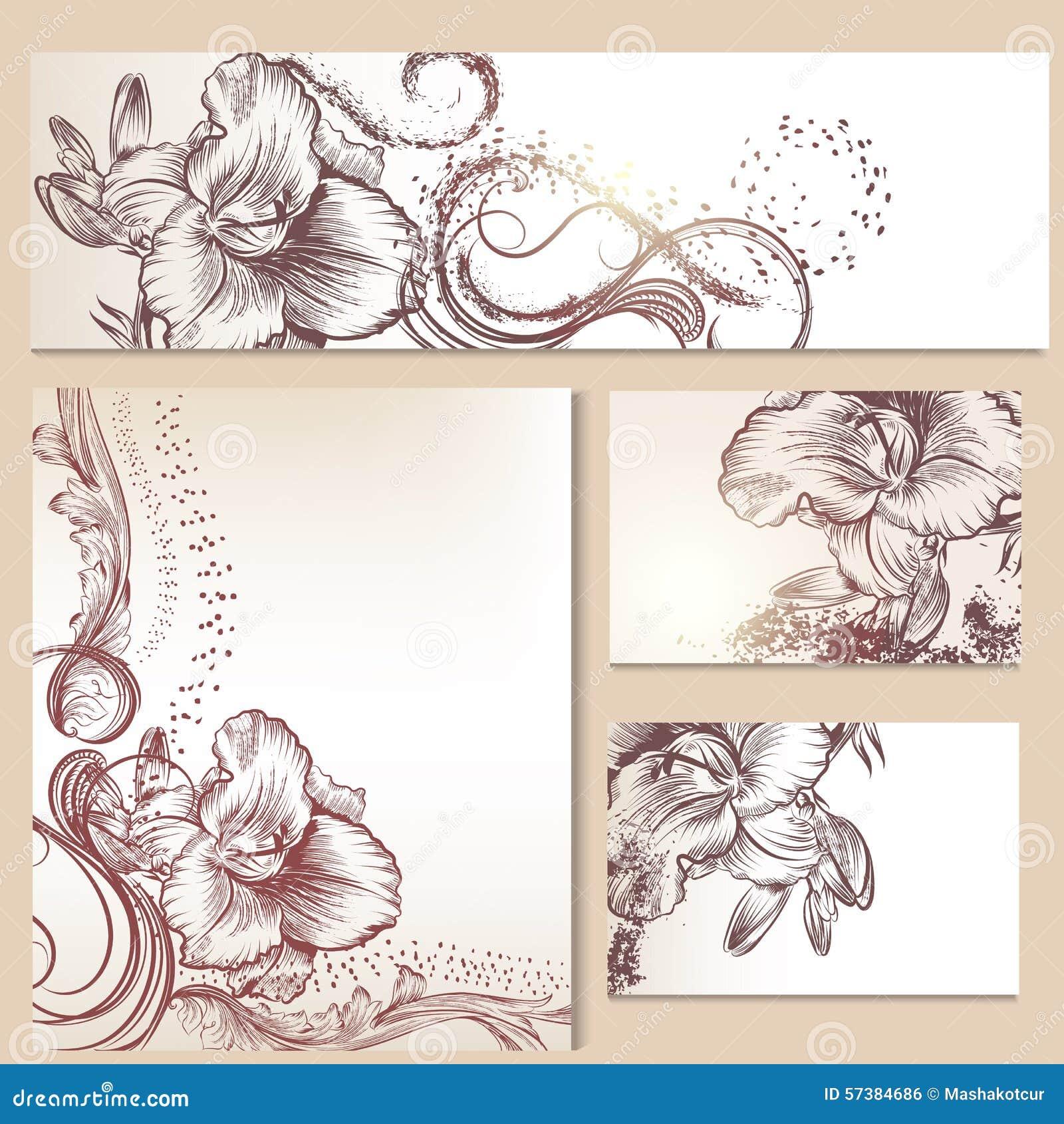 Bloemenmalplaatjes of uitnodiging met leliebloemen