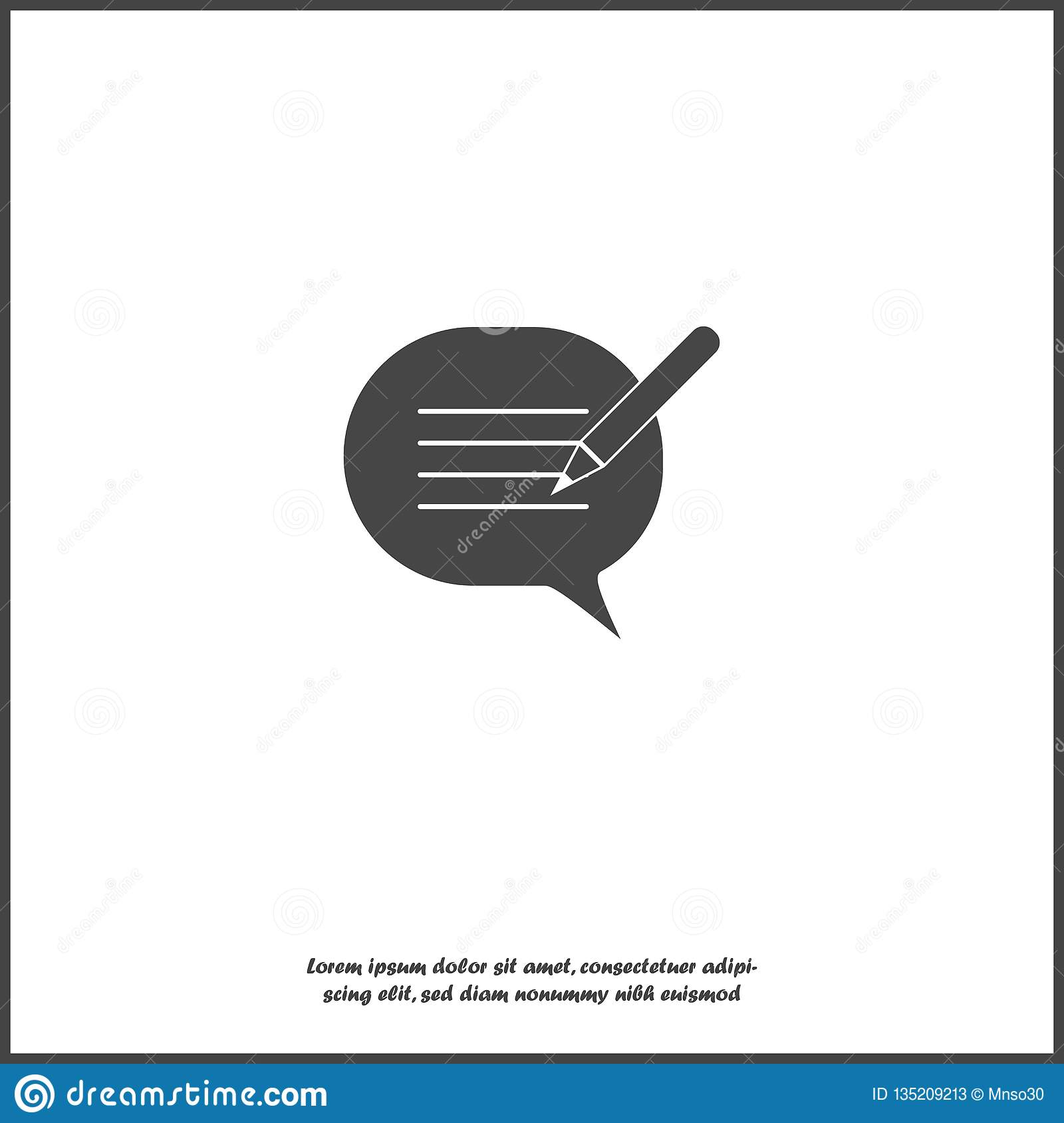 Blog, cloud of thoughts and pencil vector icon on white isolated background. Blogging symbol. Layers grouped for easy editing illu