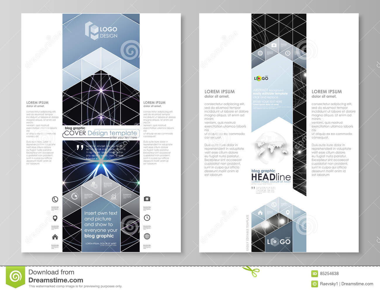 Blog Graphic Business Templates Page Website Design Template Easy Editable Abstract Vector Layout Sacred Geometry Glowing Geometrical Ornament