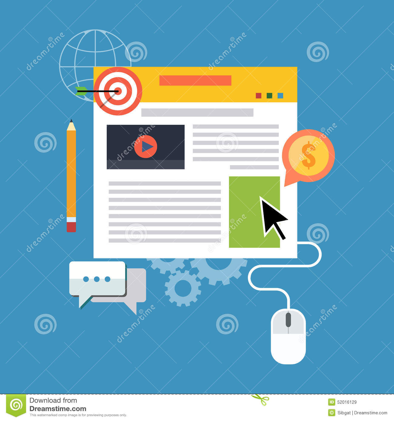 Download Blog Management, Blogging Concept. Flat Design. Stock Vector - Illustration of background, isolated: 52016129