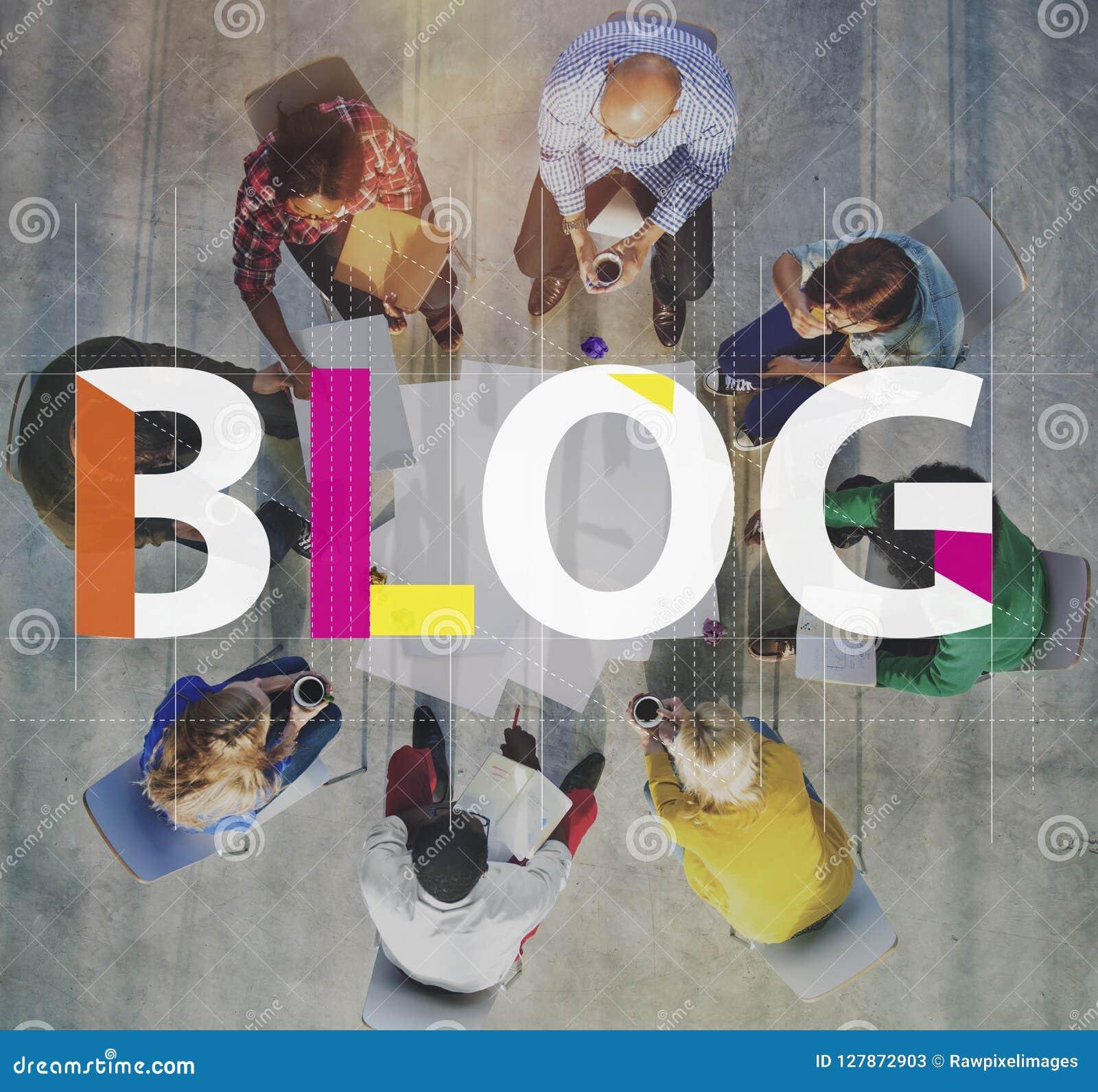 Blog reliant le concept satisfait de l information de page d accueil