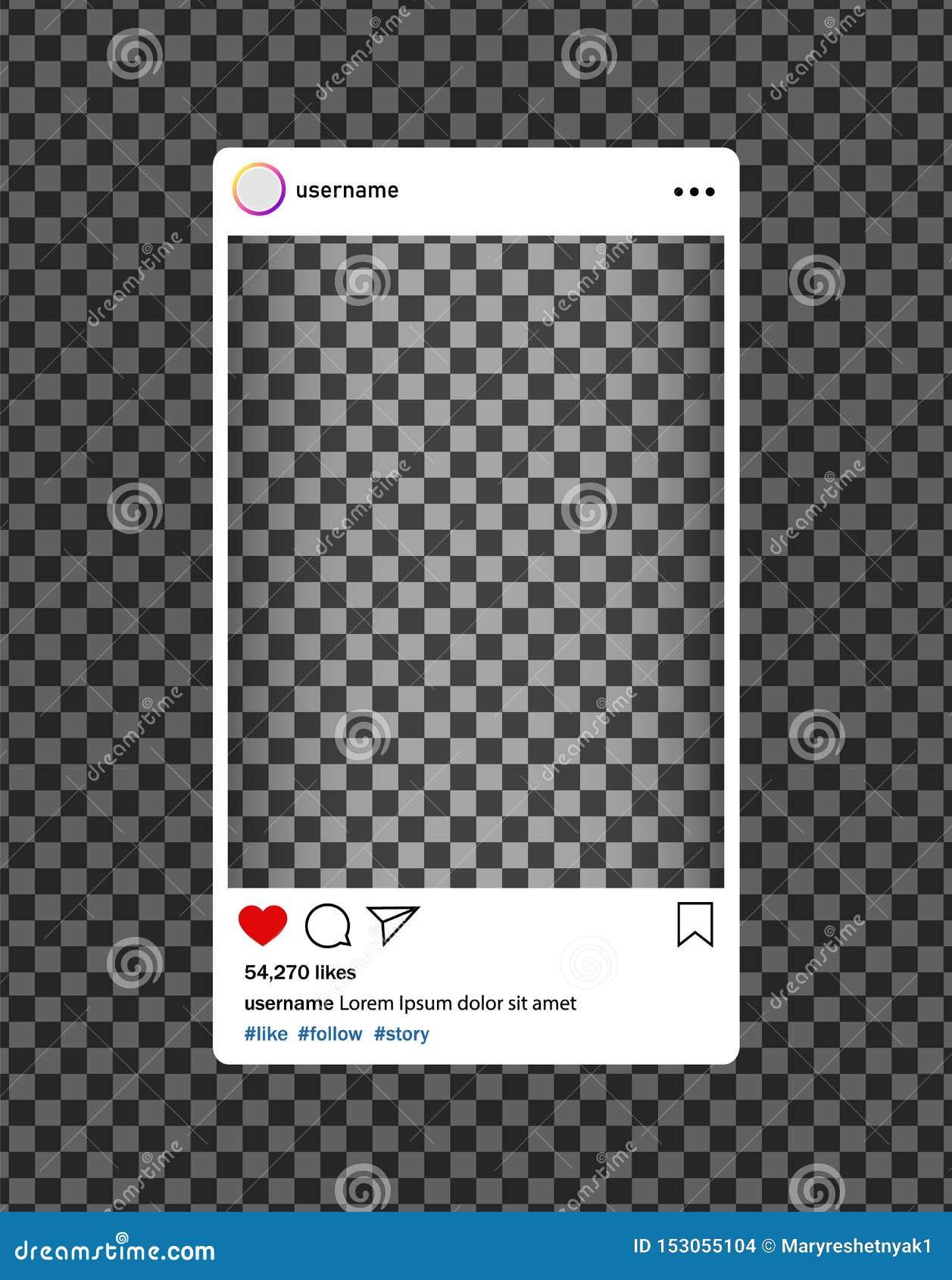Bloger de Instagram Marco social de la foto de los medios con el corazón, lupa Interfaz del poste para los medios sociales Vector